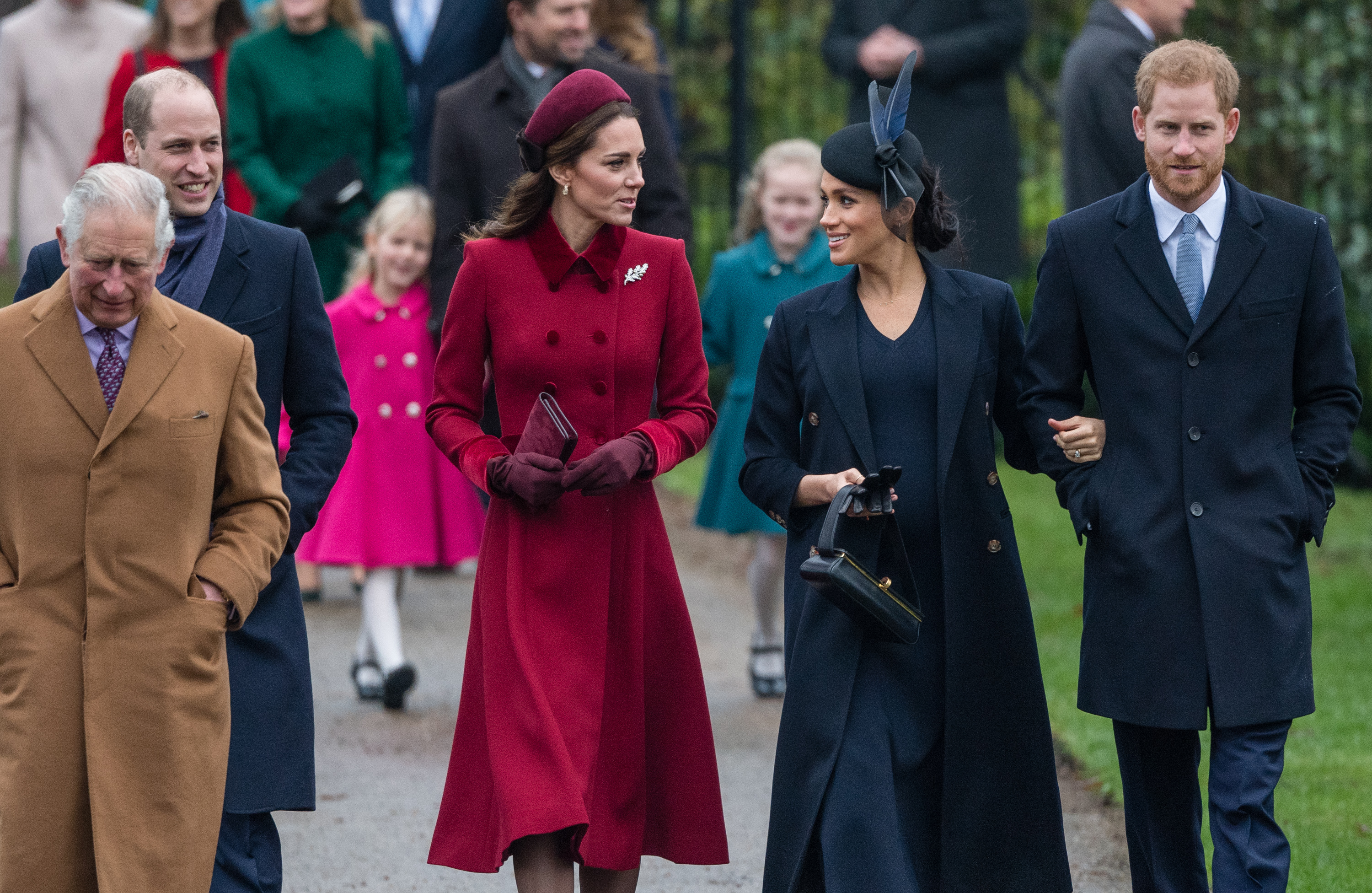 DECEMBER 25: Prince Charles, Prince of Wales, Prince William, Duke of Cambridge, Catherine, Duchess of Cambridge, Meghan, Duchess of Sussex and Prince Harry, Duke of Sussex attend Christmas Day Church service at Church of St Mary Magdalene on the Sandringham estate on December 25, 2018 in King's Lynn, England.