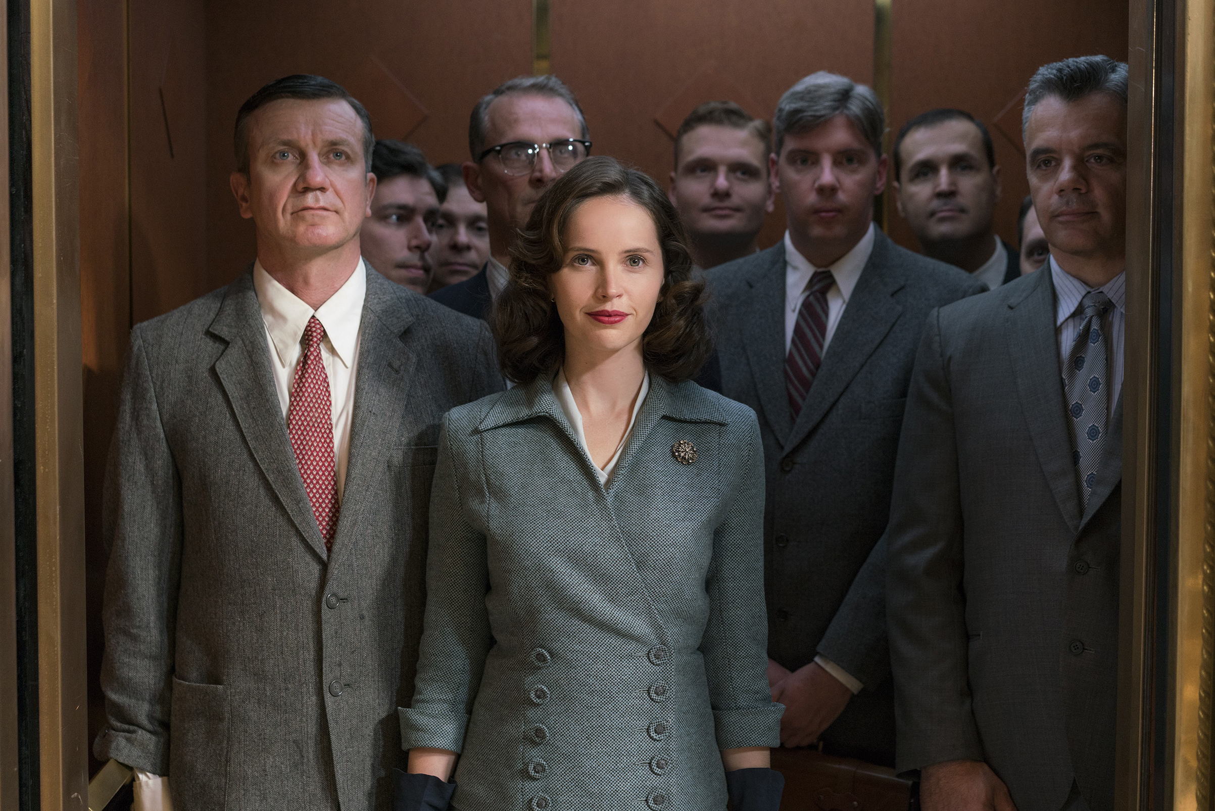 Jones as the young Ruth Bader Ginsburg: distinguishing herself in a sea of men