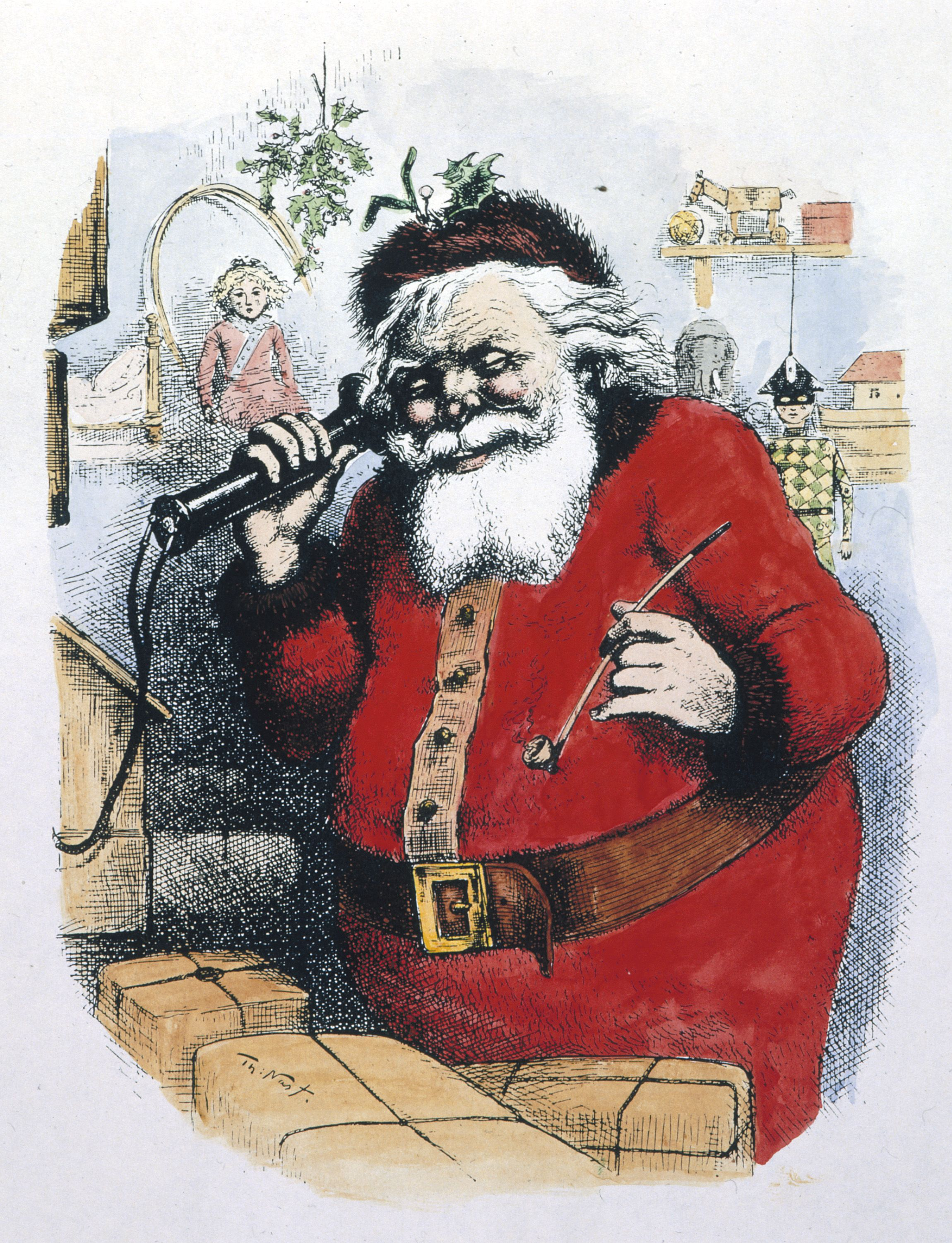 Colorized illustration of Father Christmas on the telephone by Thomas Nast, c. 1885, from Harper's Weekly Magazine.