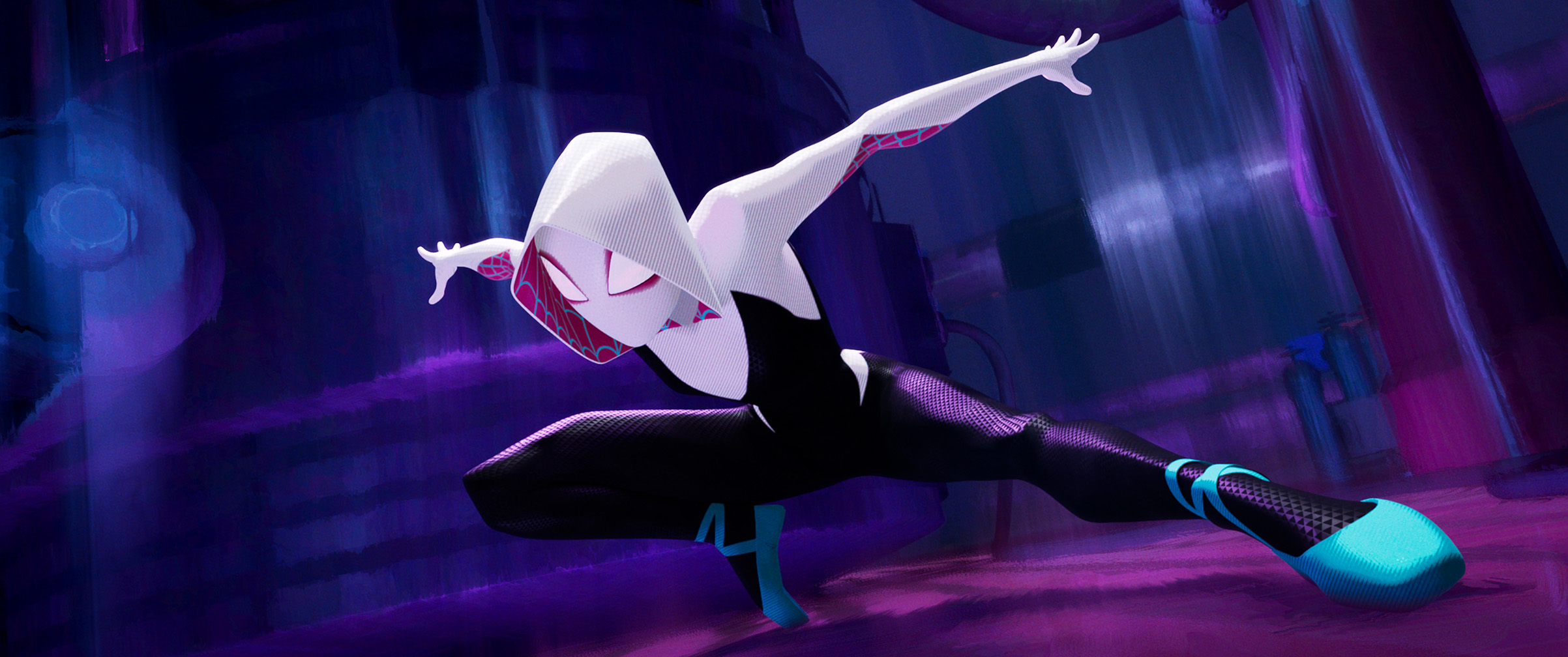 In one of Into the Spider-Verse's many parallel worlds, Peter's friend Gwen Stacy gets bitten by the radioactive spider. She becomes the hero and Peter the one who needs saving.