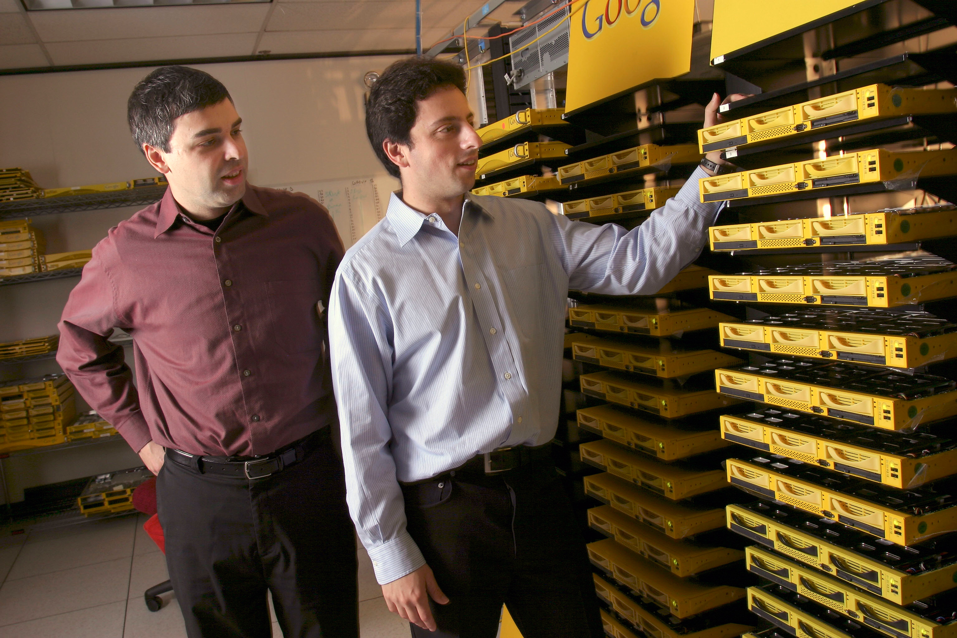 Google co-founders Larry Page, left, and Sergey Brin, at their campus headquarters in Mountain View, Calif., 2003.