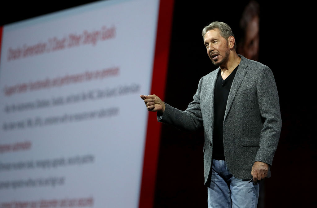 Oracle co-founder and Chairman Larry Ellison delivers a keynote address during the Oracle OpenWorld on Oct. 22, 2018 in San Francisco, California.