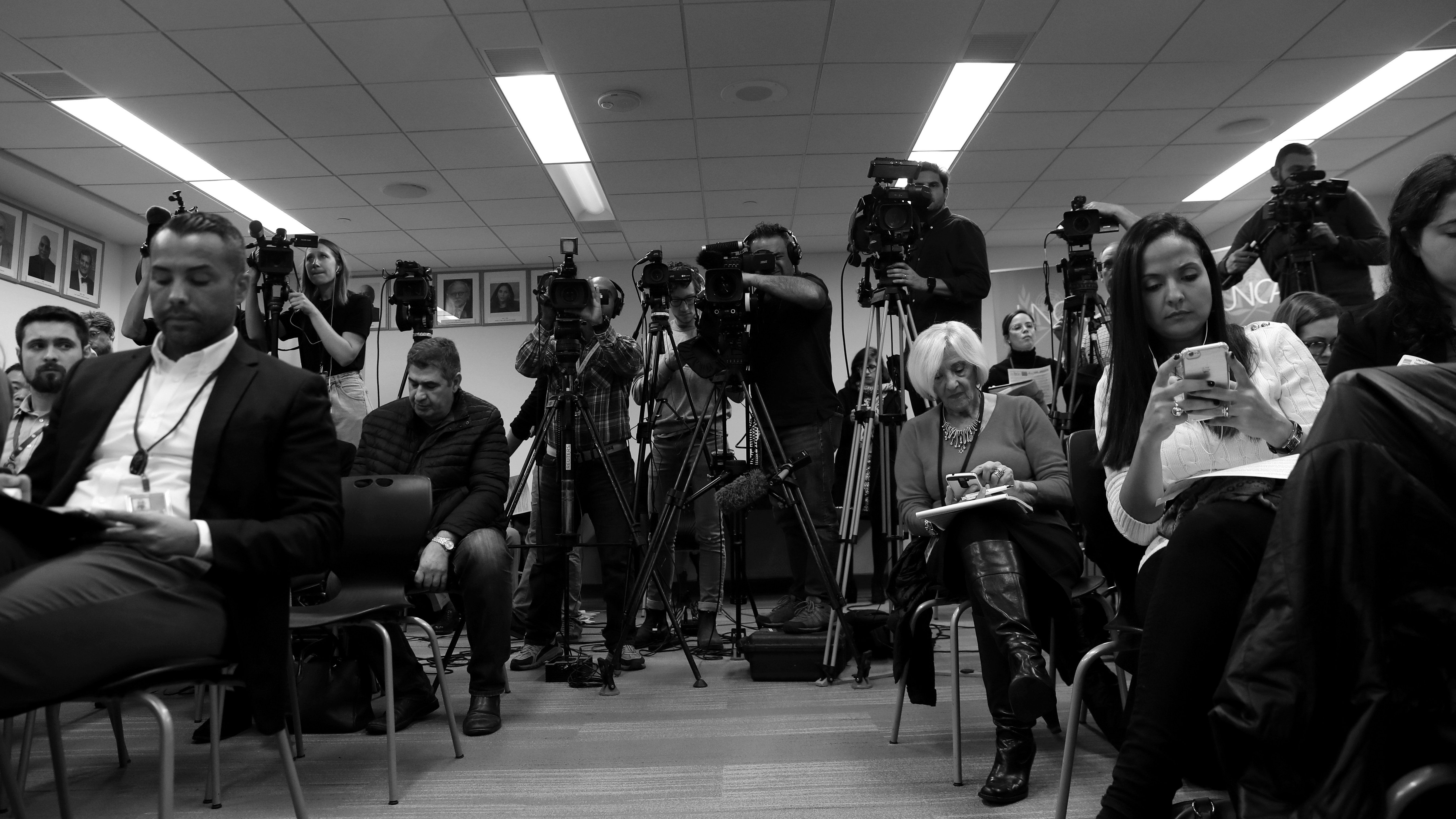 Members of the media attend a news conference on the disappearance of Saudi journalist Jamal Khashoggi at the United Nations in New York, U.S., October 18, 2018.