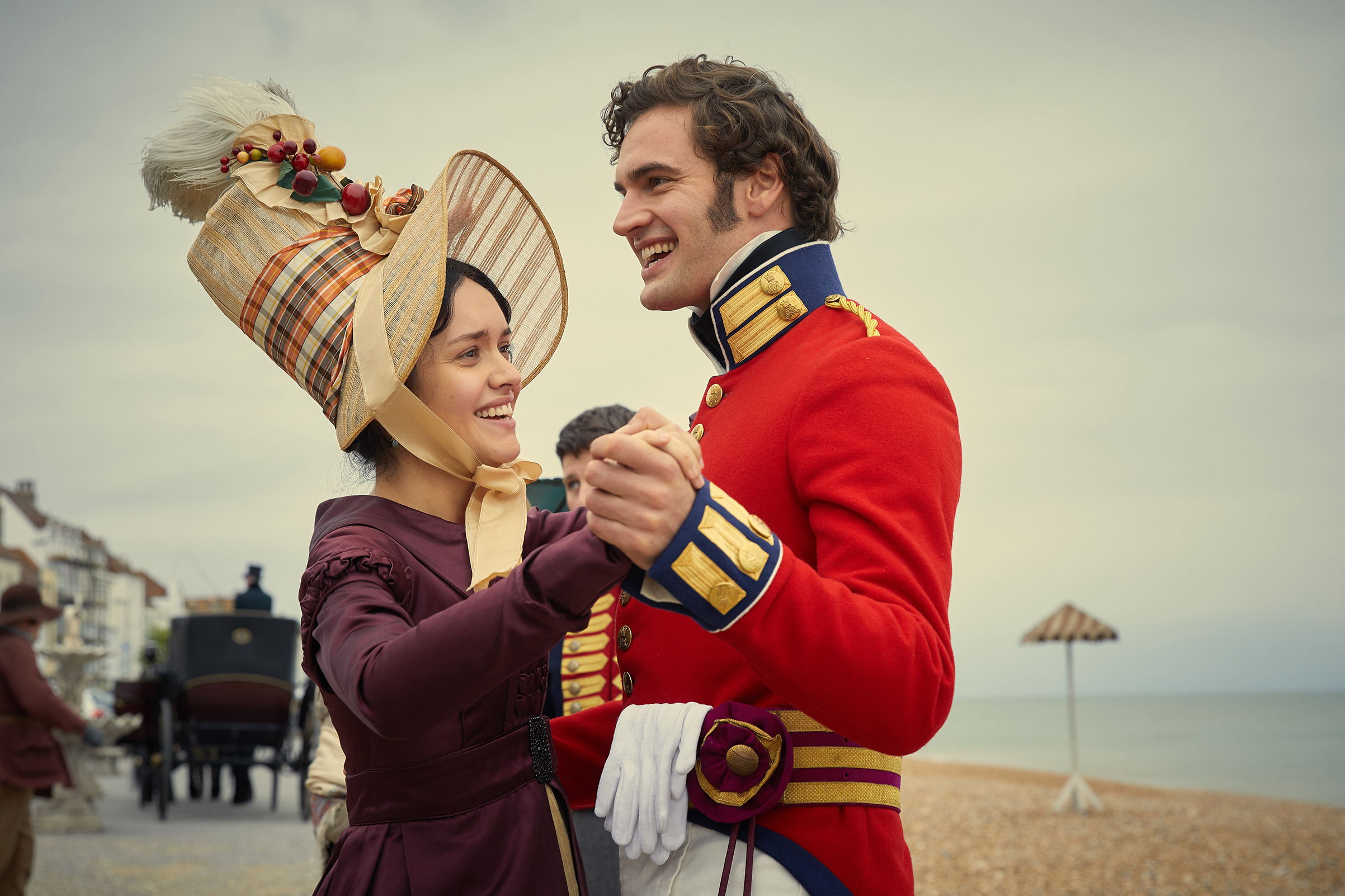 Becky (Cooke) hitches her carriage to Captain Rawdon Crawley (Tom Bateman)