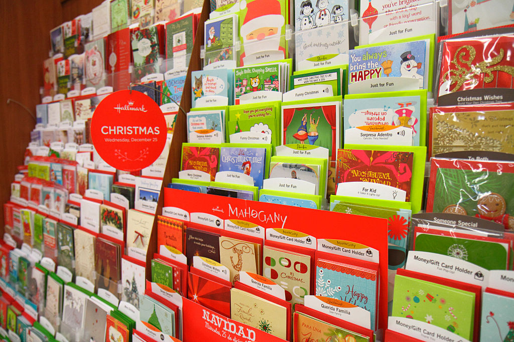 Christmas greeting cards for sale in Walgreens.