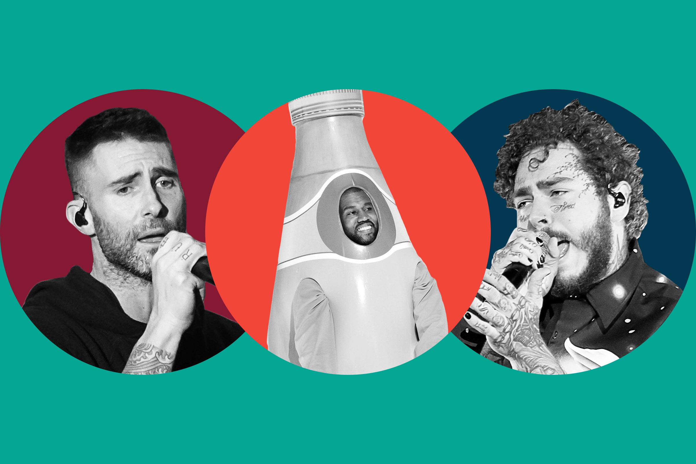 Adam Levine; Kanye West; Post Malone