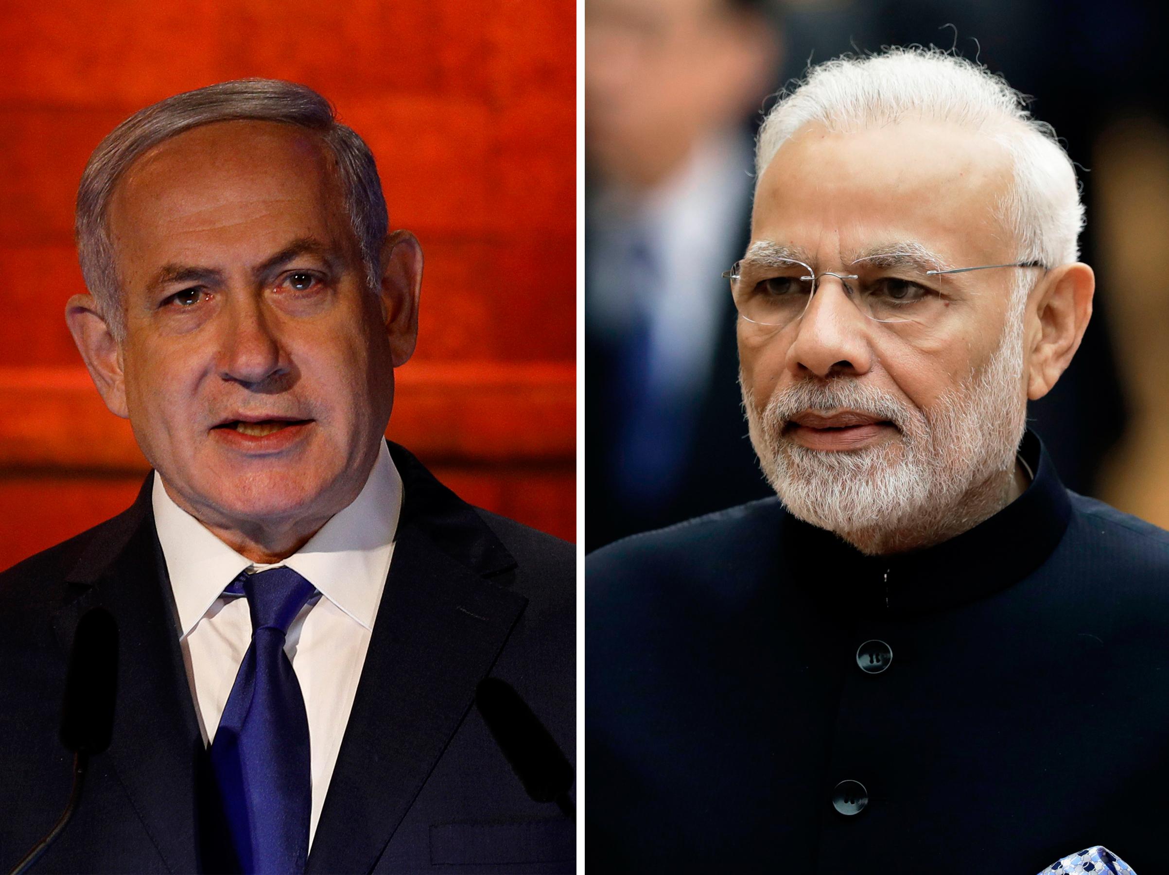 (L-R) Benjamin Netanyahu and Narendra Modi