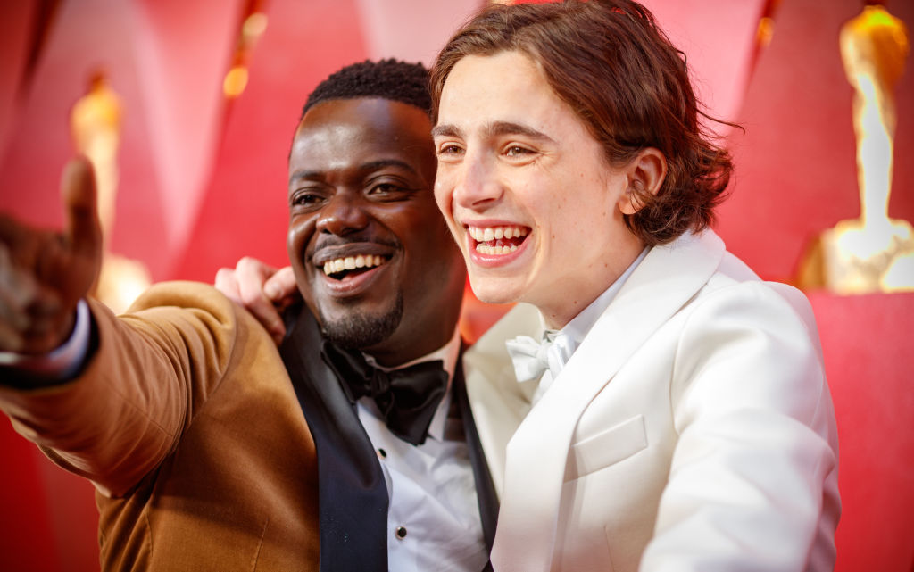 Daniel Kaluuya (L) and Timothee Chalamet attend the 90th Annual Academy Awards at Hollywood & Highland Center on March 4, 2018 in Hollywood, California.