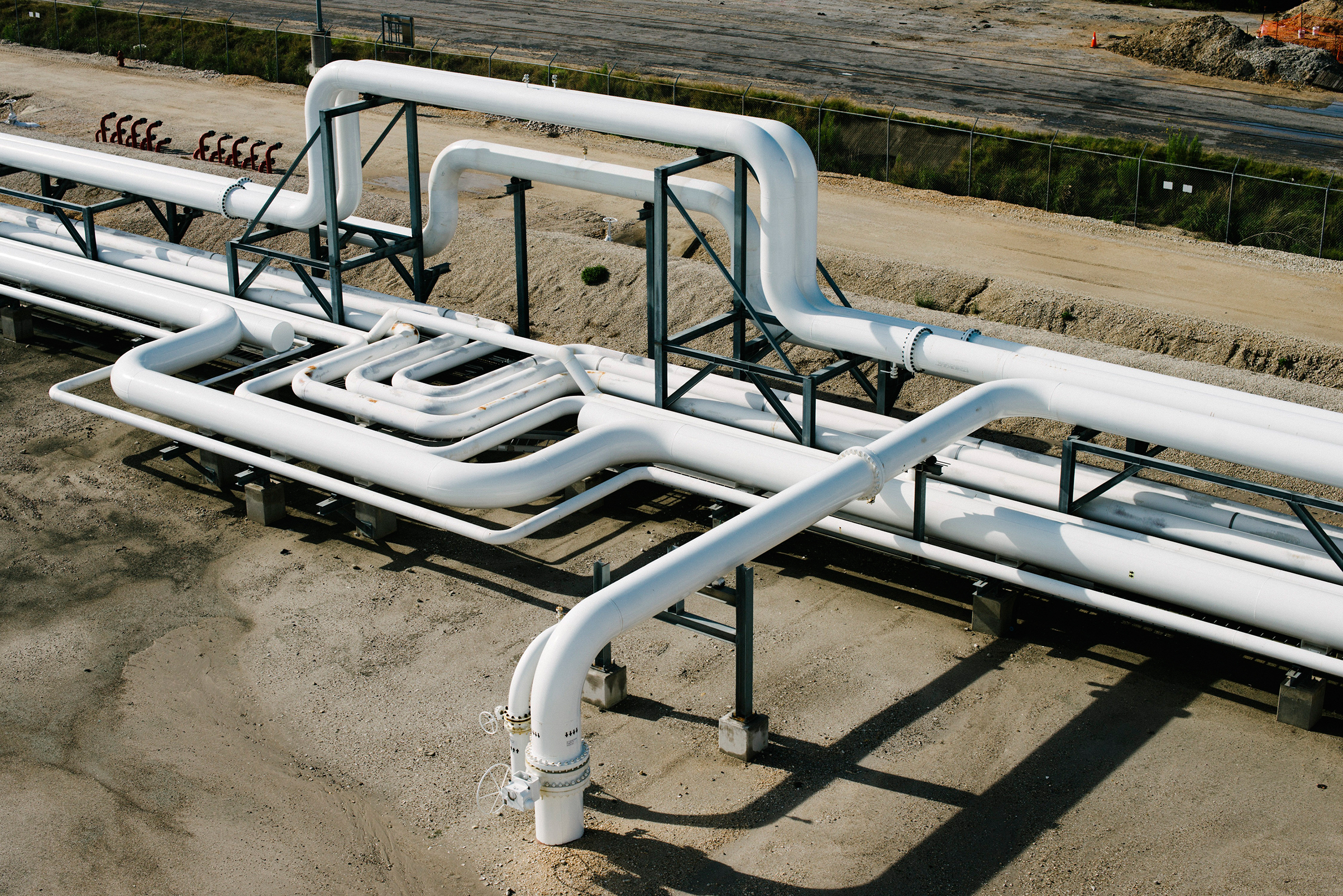 Pipes at NuStar Energy's facility in Corpus Christi, Texas, a key port linking oil from the Permian Basin to the world.