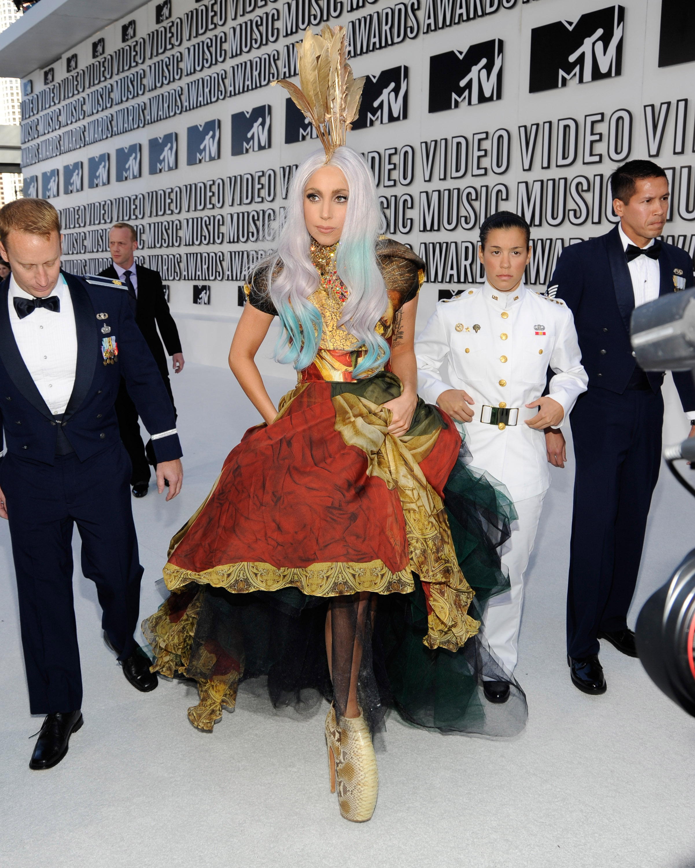 Lady Gaga arrives at the 2010 MTV Video Music Awards held at Nokia Theatre L.A. Live on September 12, 2010 in Los Angeles, California.
