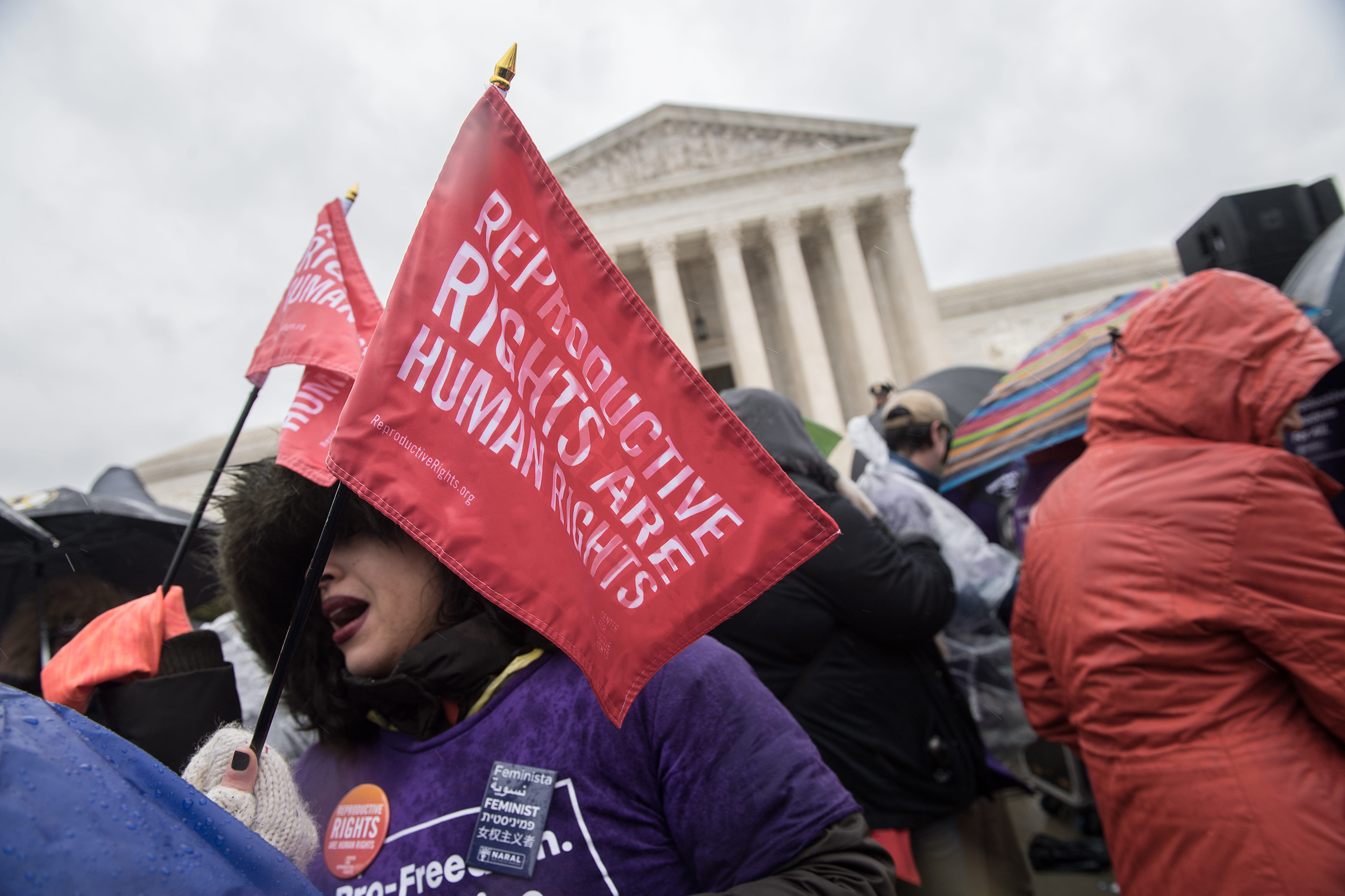 Pro-choice activists demonstrate in front of the Supreme Court in Washington, on March 20, 2018.