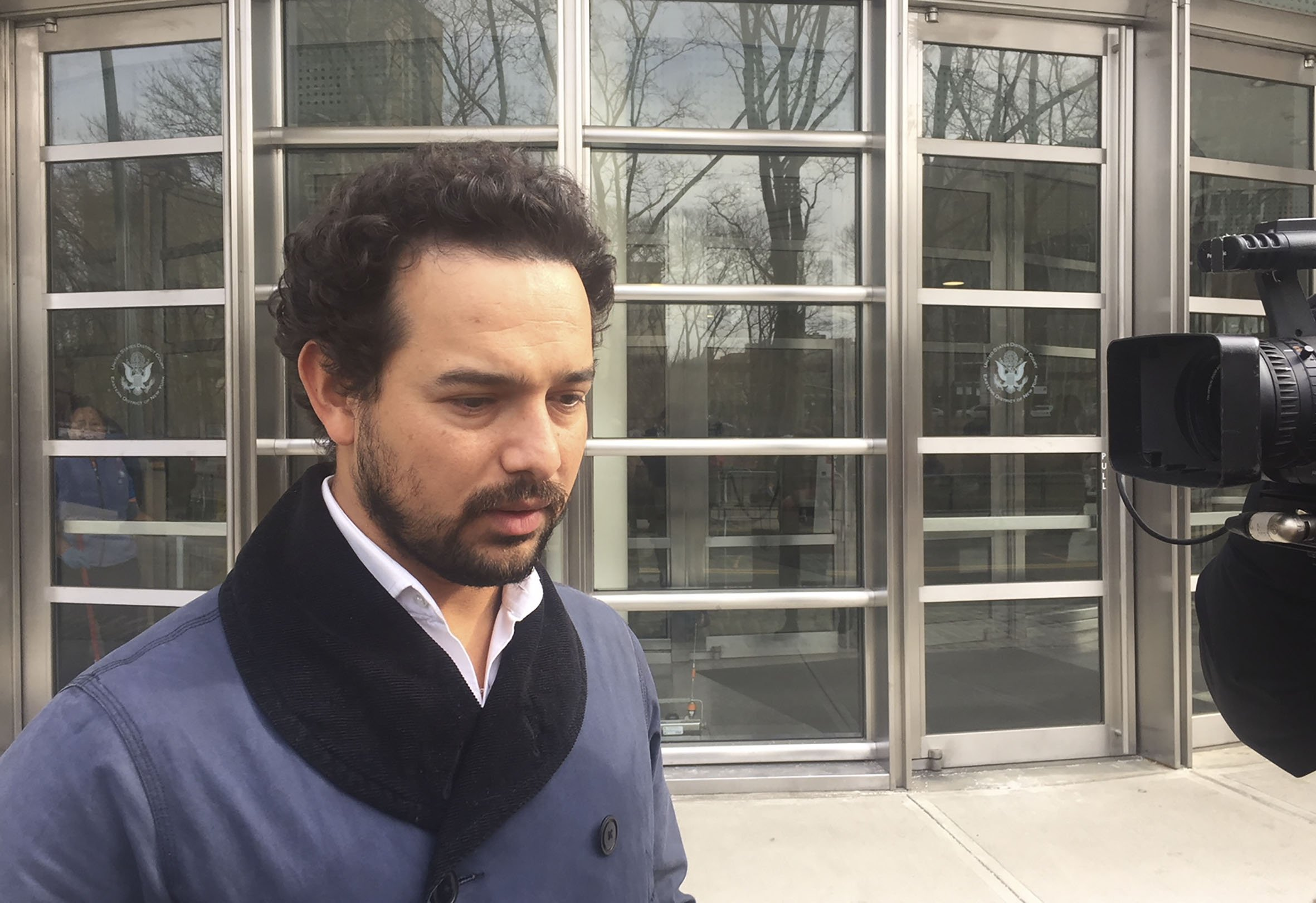 Mexican actor Alejandro Edda, 34, who played Joaquin  El Chapo  Guzman in Netflixs  Narcos: Mexico , walks past media after he attended the trial of the Mexican drug lord in Brooklyn federal court on Jan. 28, 2019.