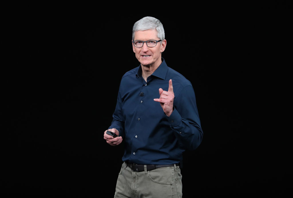 Tim Cook, chief executive officer of Apple,  speaks during an Apple event at the Steve Jobs Theater at Apple Park on Sep. 12, 2018 in Cupertino, California.