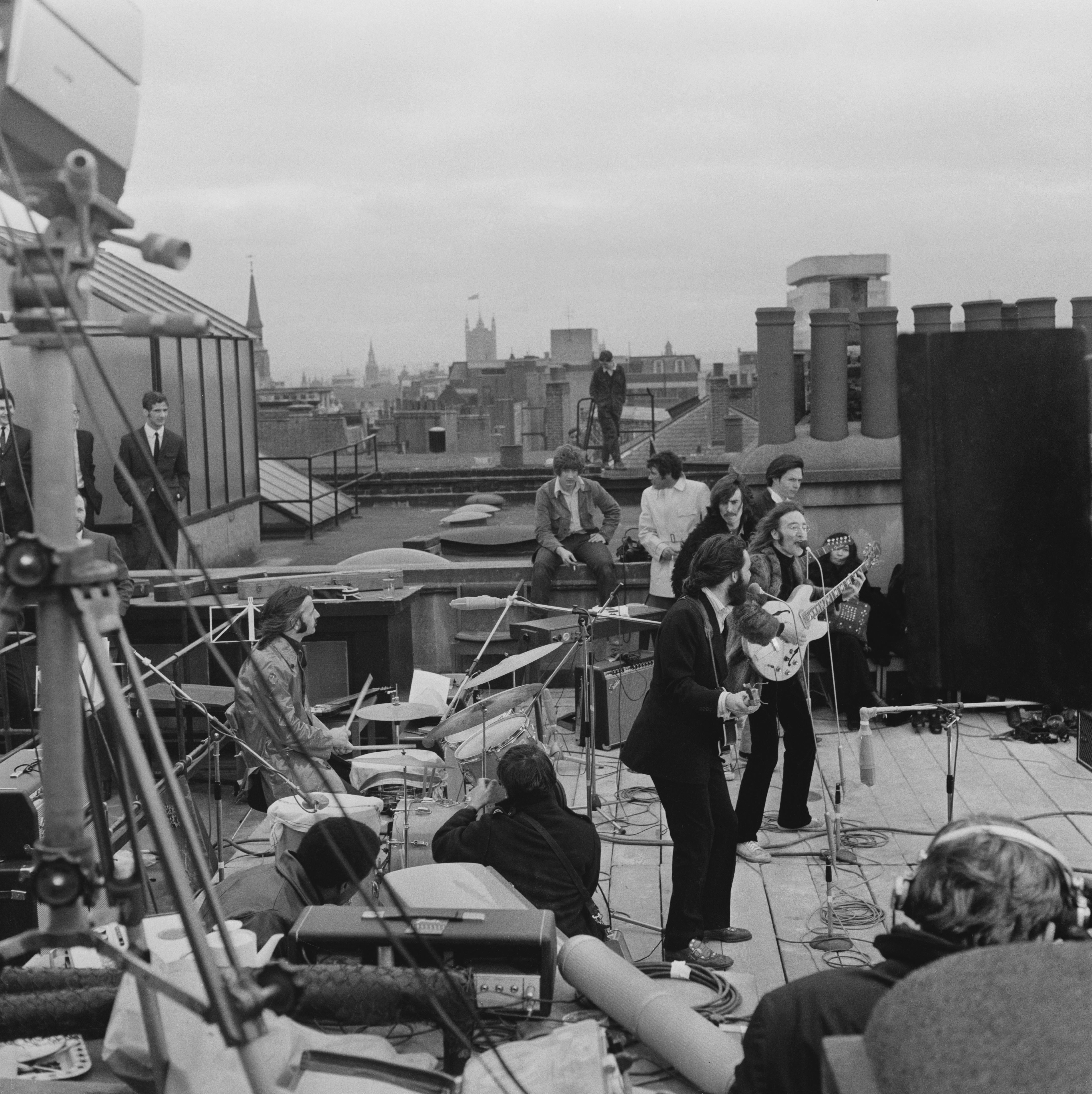 The Beatles performing their last live public concert on the rooftop of the Apple Organization building for director Michael Lindsey-Hogg's film documentary, 'Let It Be,' on Savile Row, London, Jan. 30, 1969.