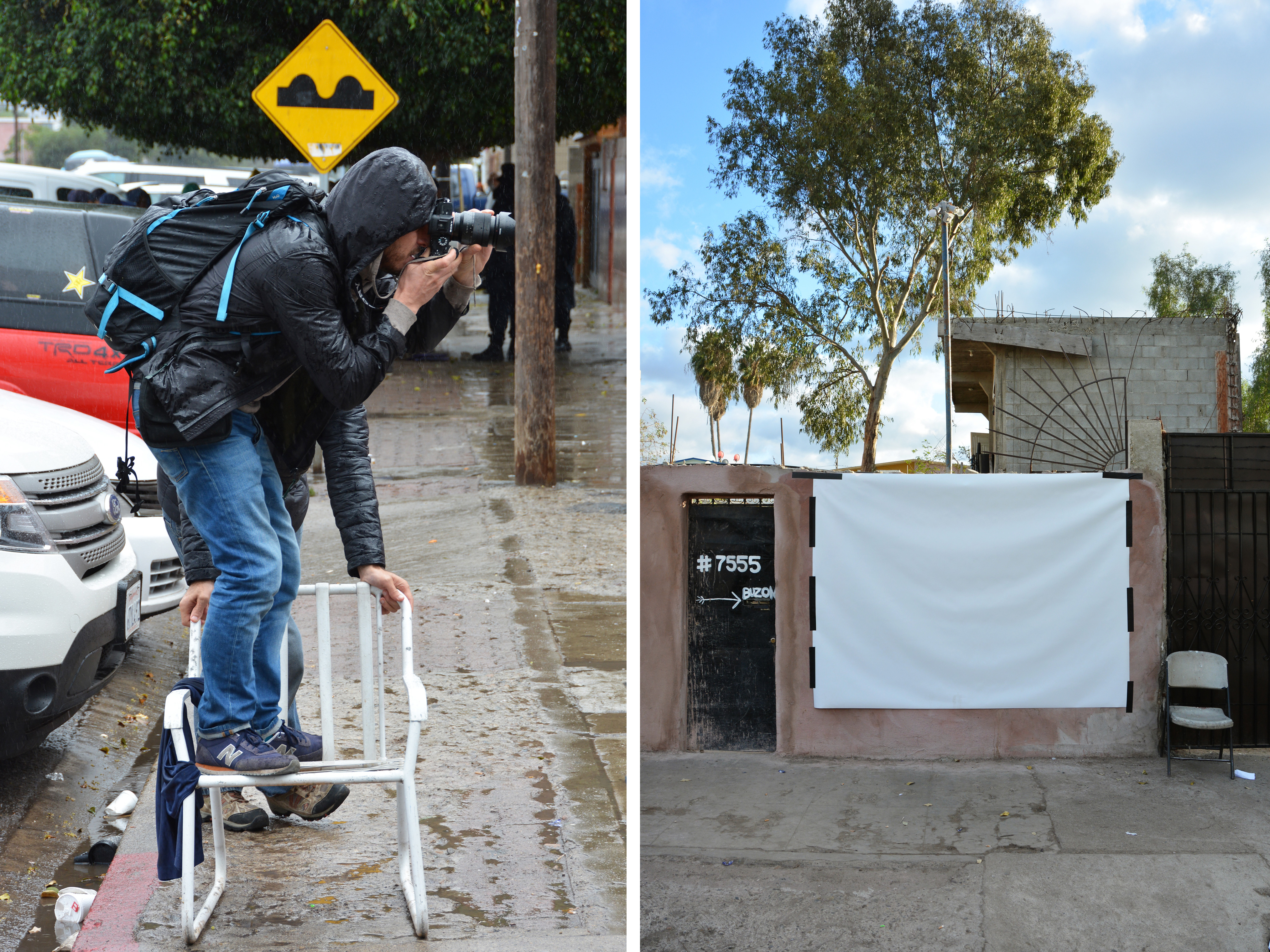 In between rain showers, photographer Davide Monteleone (left) photographed migrants against a white vinyl backdrop (right) on a wall just outside a migrant camp in Tijuana, Mexico.
