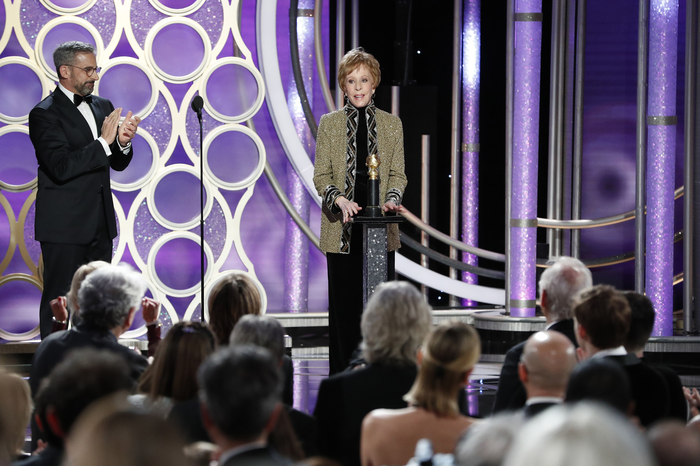 Carol Burnett accepts the Carol Burnett TV Achievement Award onstage during the 76th Annual Golden Globe Awards.