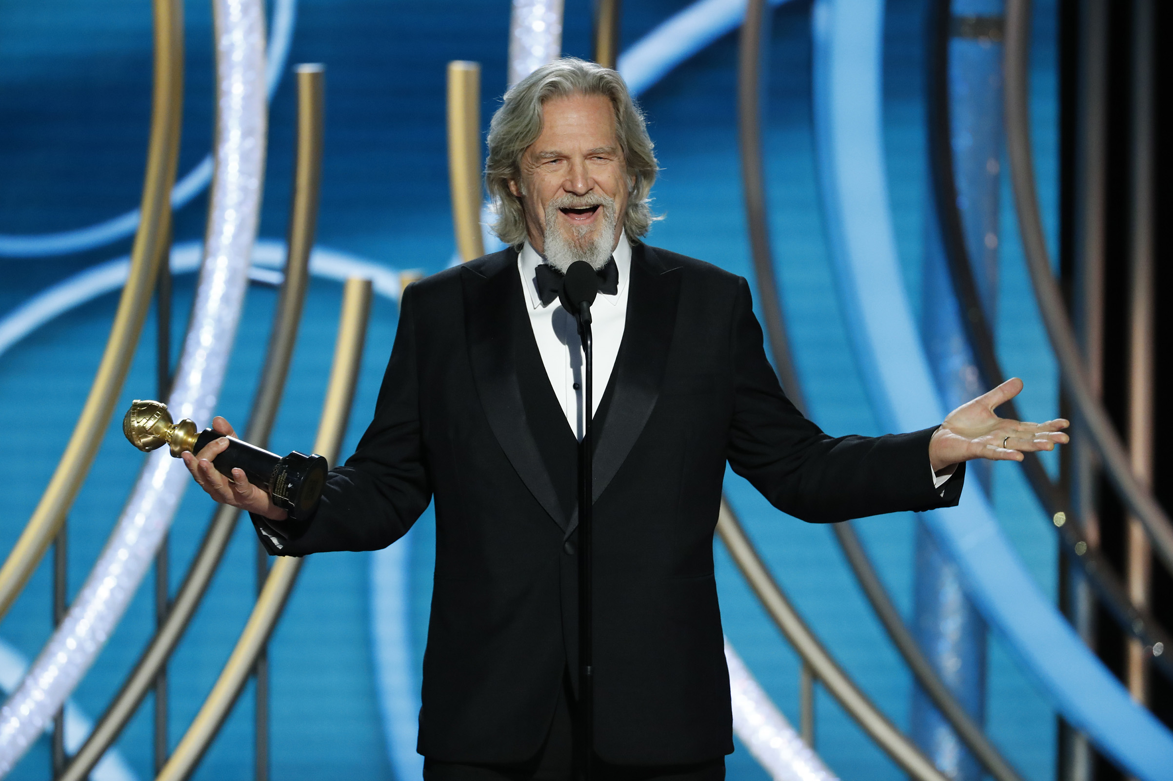 Jeff Bridges accepts the Cecil B. Demille Award onstage during the 76th Annual Golden Globe Awards.
