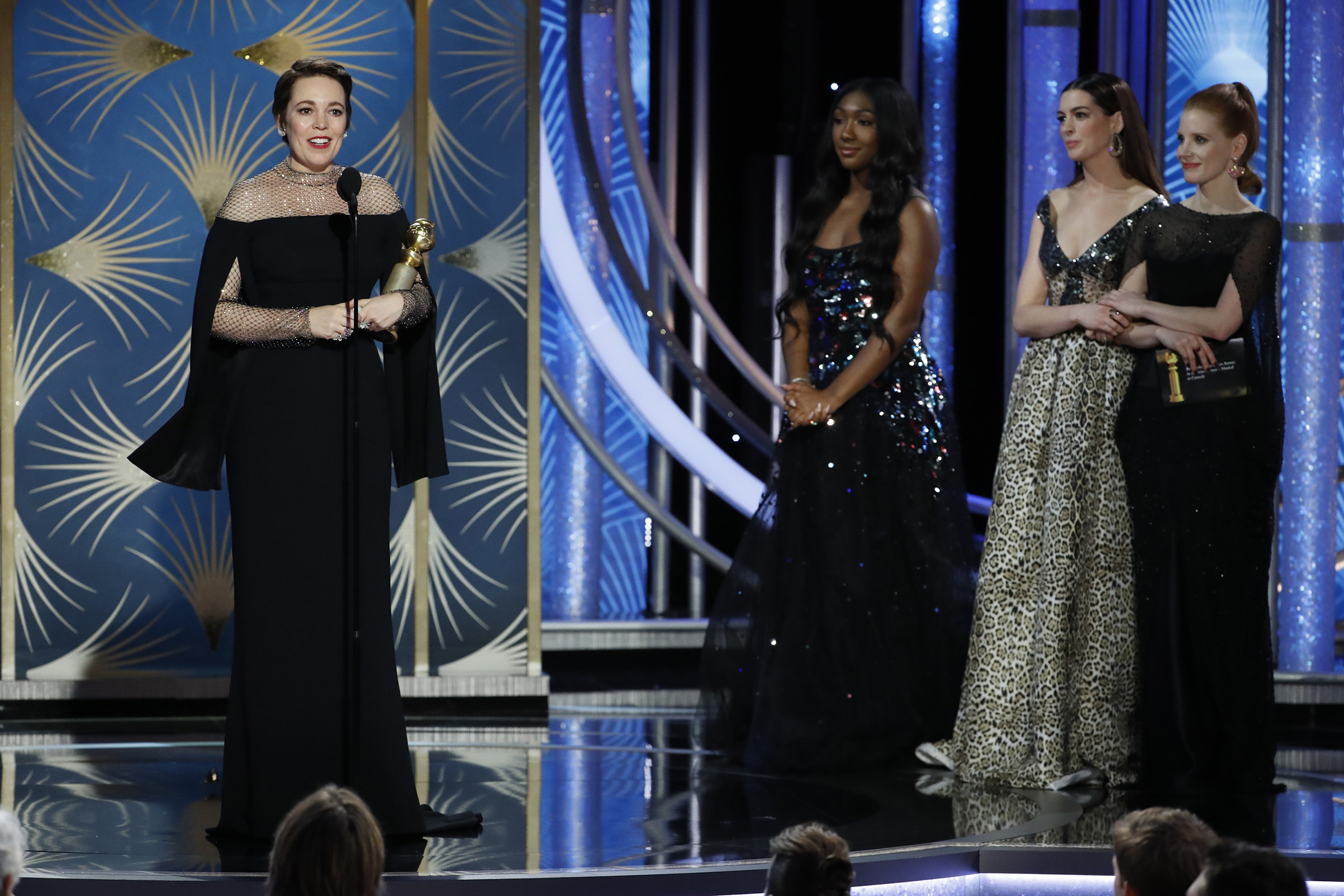 """Olivia Colman from """"The Favourite"""" accepts the Best Actress in a Motion Picture – Musical or Comedy award  onstage during the 76th Annual Golden Globe Awards."""