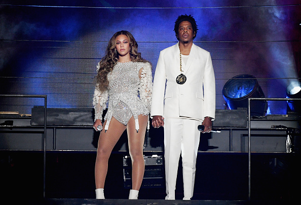 Beyonce (L) and JAY-Z perform onstage during the 'On The Run II' Tour at Rose Bowl on September 22, 2018 in Pasadena, California.