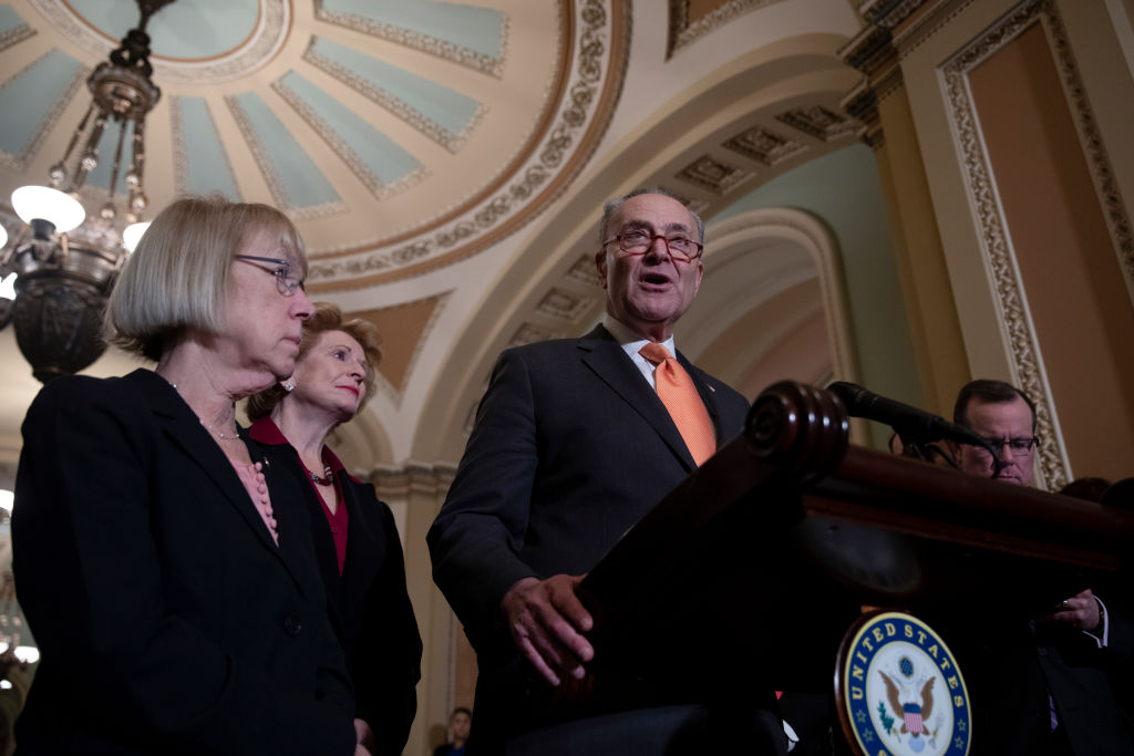Senate Minority Leader Chuck Schumer, (D-NY) speaks during a during a news conference after a GOP caucus meeting on December 18, 2018 in Washington, DC.