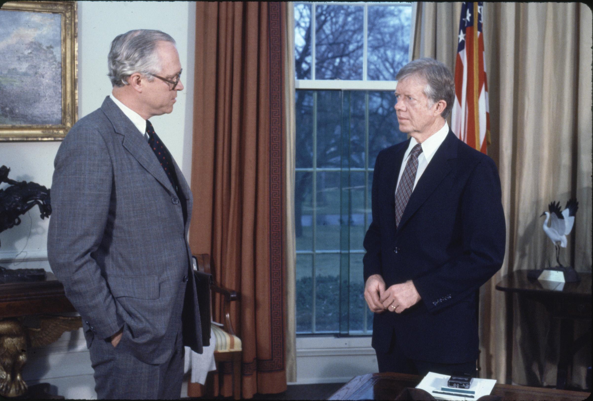 Pres. Jimmy Carter (R) w. Atty. Gen Benjamin Civiletti at the White House in 1979.