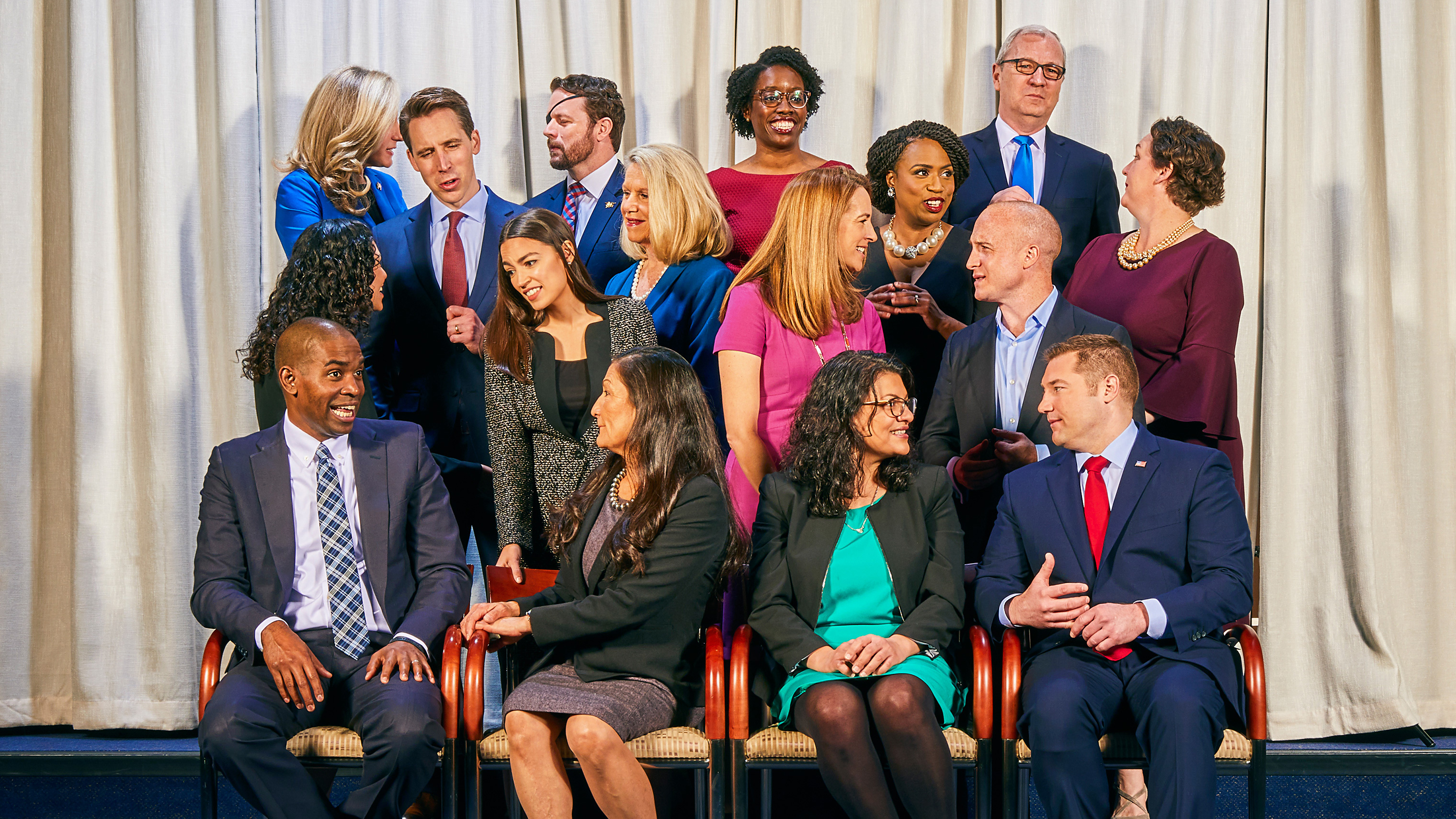 Congressmen and women gather at the United States Capitol in Washington D.C., Jan. 2. Front row, from left to right: Rep. Antonio Delgado (D–NY), Rep. Deb Haaland (D–NM), Rep. Rashida Tlaib (D–MI), Rep. Guy Reschenthaler (R–PA); Second row, from left to right: Rep. Xochitl Torres Small (D–NM), Rep. Alexandria Ocasio-Cortez (D–NY), Rep. Mikie Sherrill (D–NJ), Rep. Max Rose (D–NY), Third row, from left to right: Sen. Josh Hawley (R–MO), Rep. Carol Miller (R–WV), Rep. Ayanna Pressley (D–MA), Rep. Katie Porter (D–CA); Fourth/last row, from left to right: Rep. Abigail Spanberger (D–VA), Rep. Dan Crenshaw (R–TX), Rep. Lauren Underwood (D–IL), Sen. Kevin Cramer (R–ND)