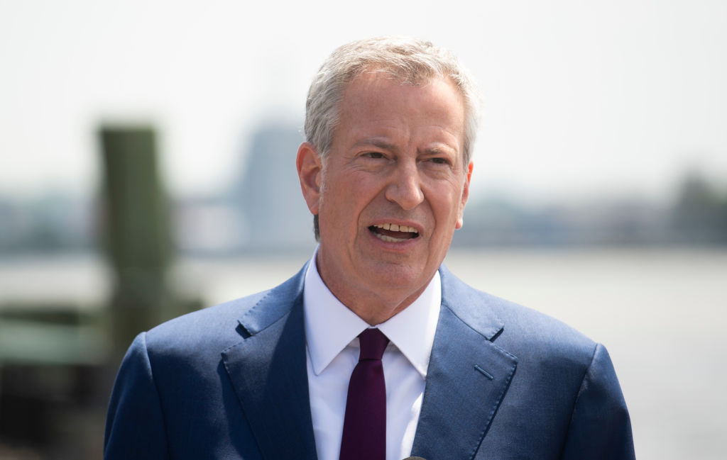 New York City Mayor Bill de Blasio speaks to the press in Wagner Park on May 16, 2019.