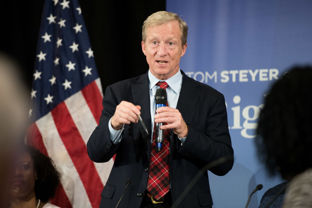 Anti-Trump Billionaire Tom Steyer hosts a town hall meeting on Dec. 4, 2018 in Charleston, South Carolina.