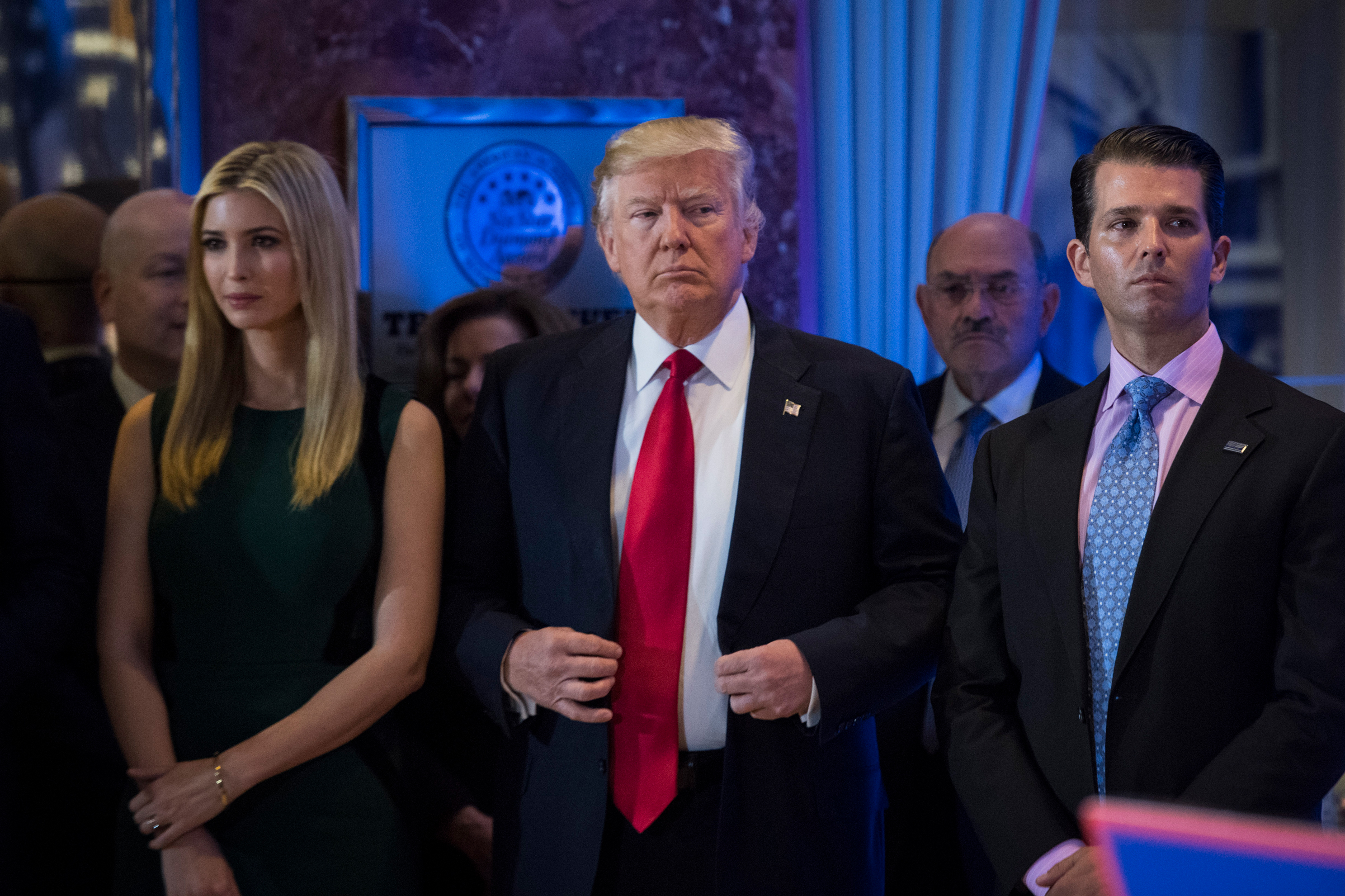 President-elect Donald Trump, Ivanka Trump, and Donald Trump Jr., listen during a press conference at Trump Tower in New York, NY, on Jan. 11, 2017.
