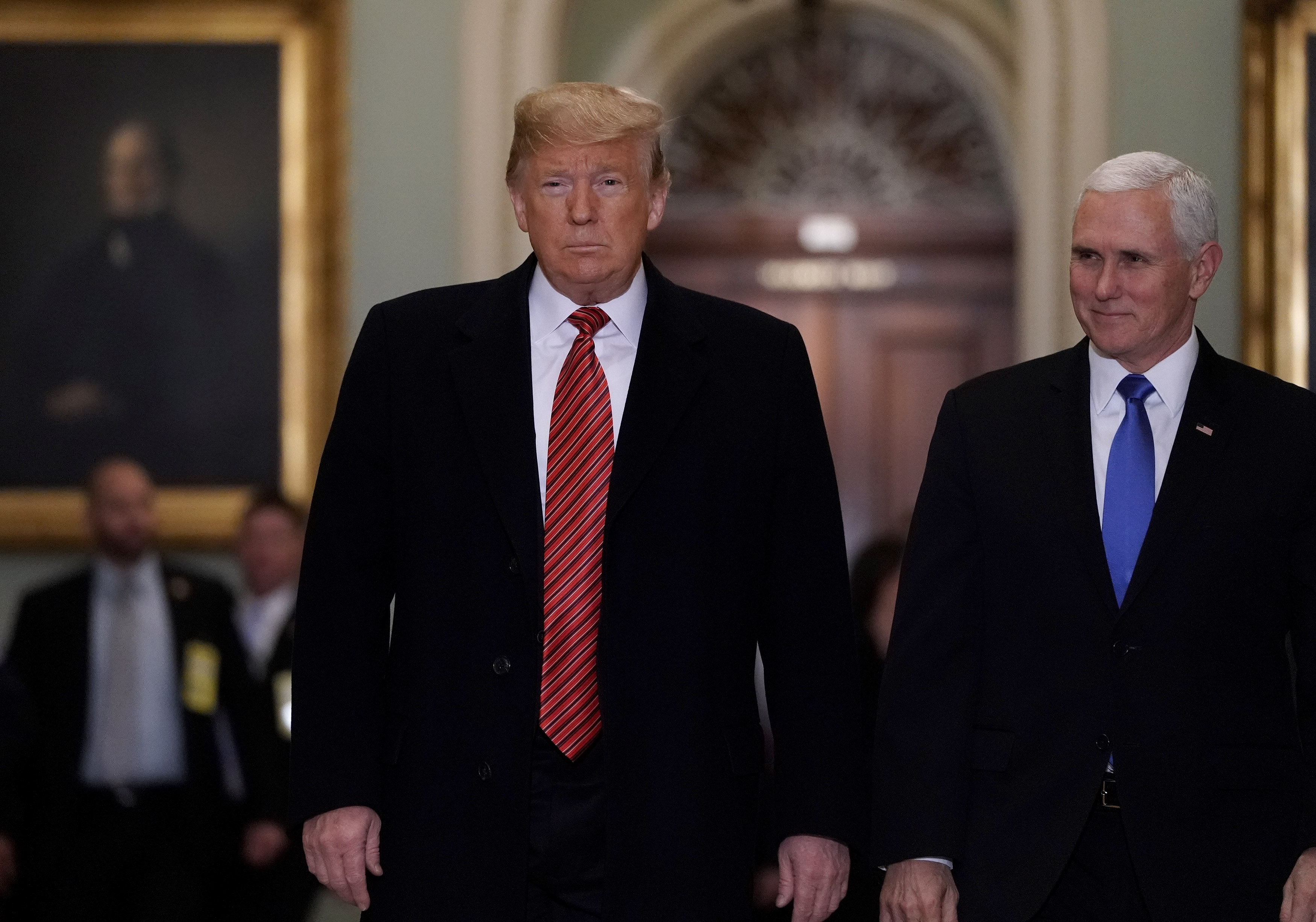 President Donald Trump and Vice President Mike Pence arrive at the U.S. Capitol to attend the weekly Republican Senate policy luncheon Jan. 9, 2019 in Washington, D.C.