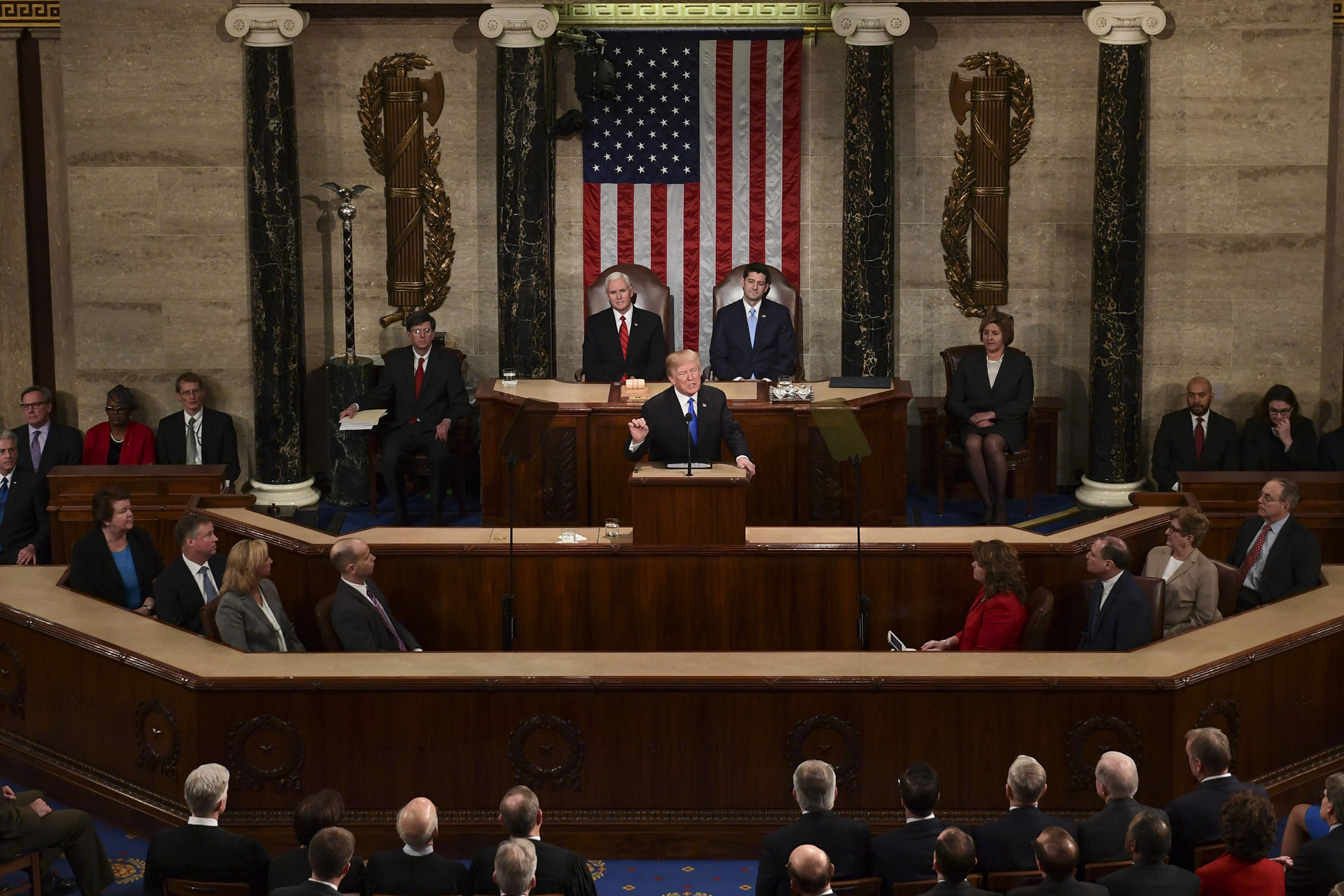 President Donald Trump delivers his State of the Union address to a joint session of Congress on Capitol Hill in Washington, on Jan. 30, 2018.