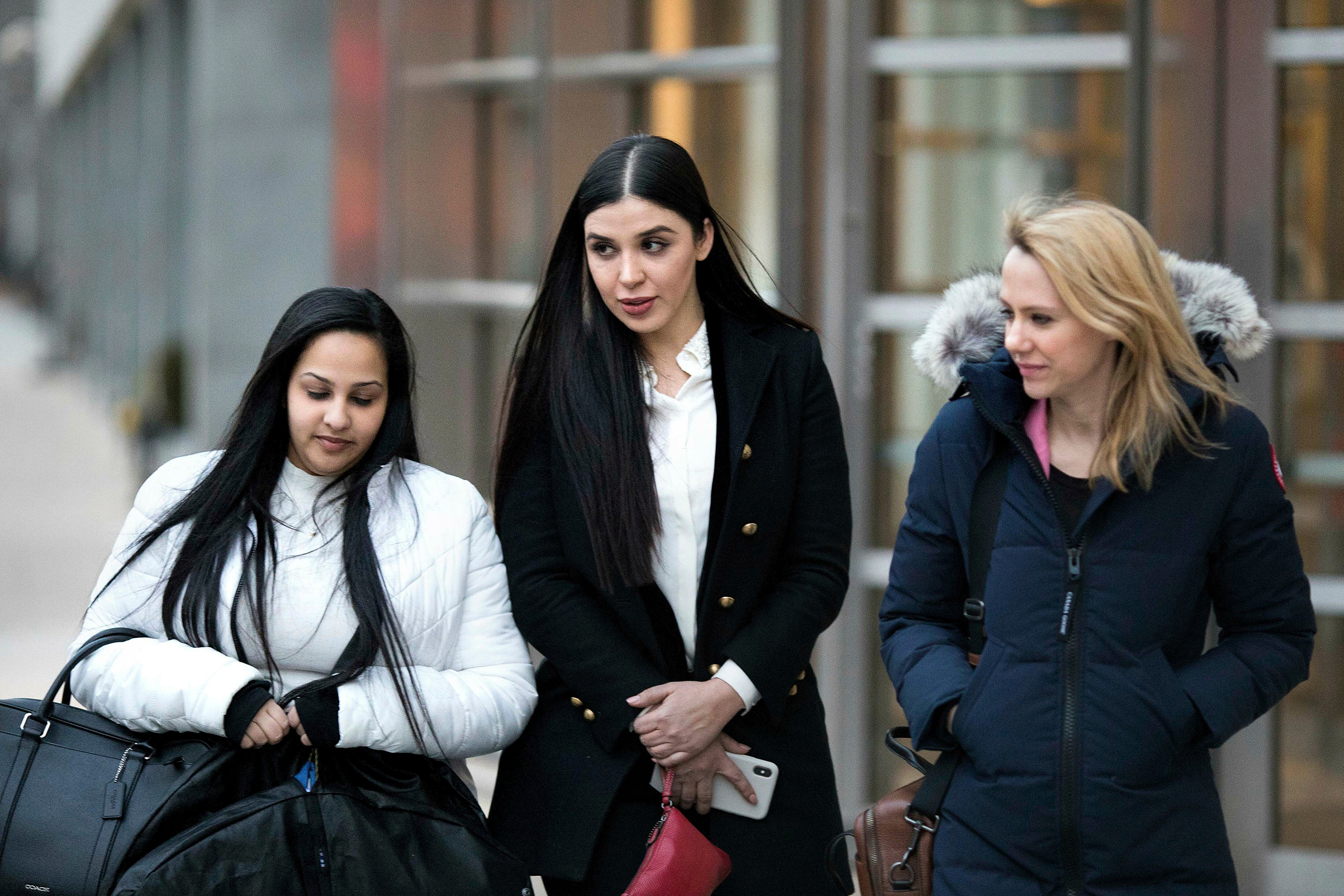 Emma Coronel Aispuro, center, leaves Brooklyn federal court, in New York, after attending the trial of her husband Joaquin  El Chapo  Guzman on Jan. 17, 2019.