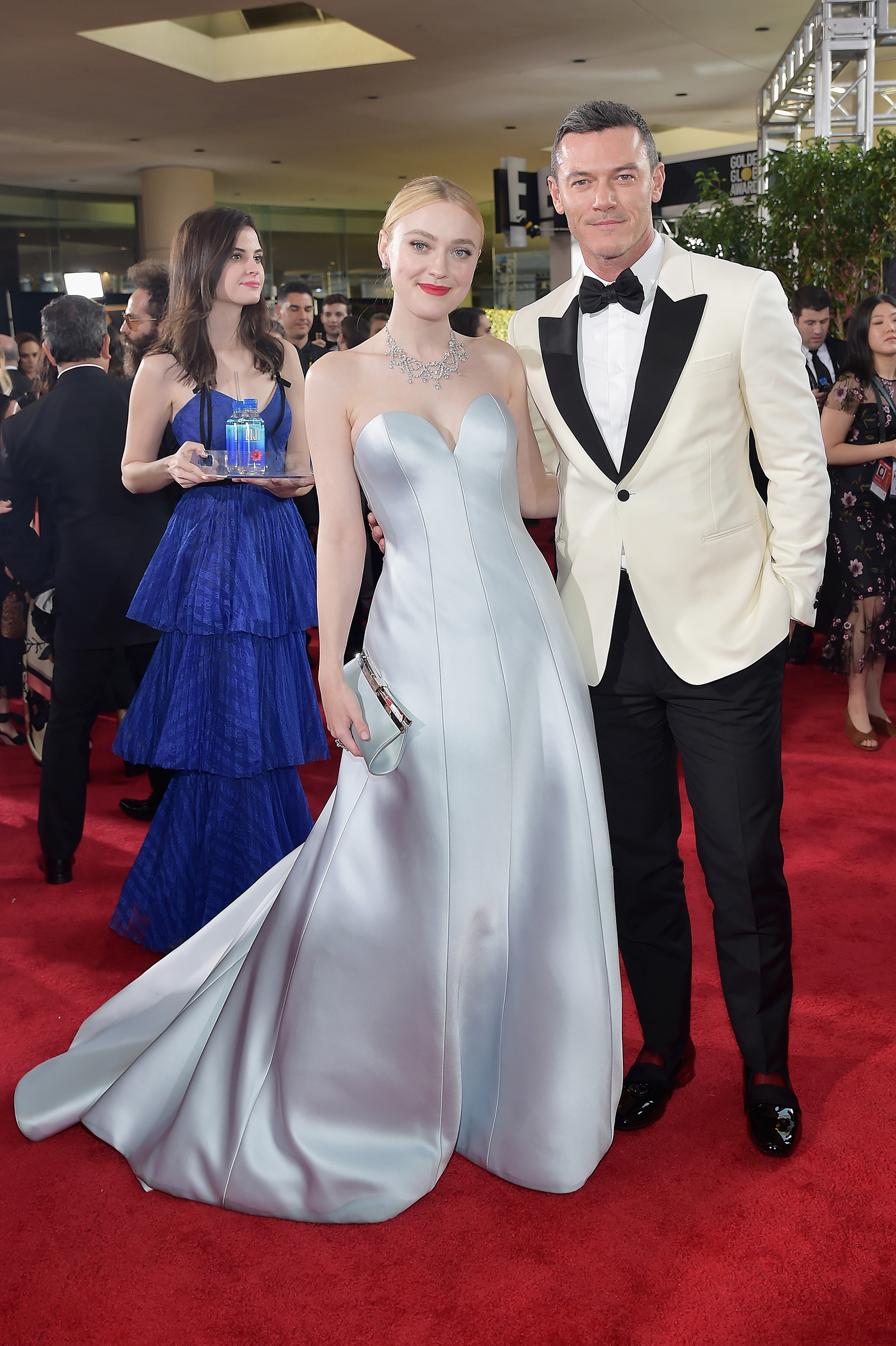 Dakota Fanning and Luke Evans attend the 76th Annual Golden Globe Awards on Jan. 6, 2019 at the Beverly Hilton in Los Angeles.