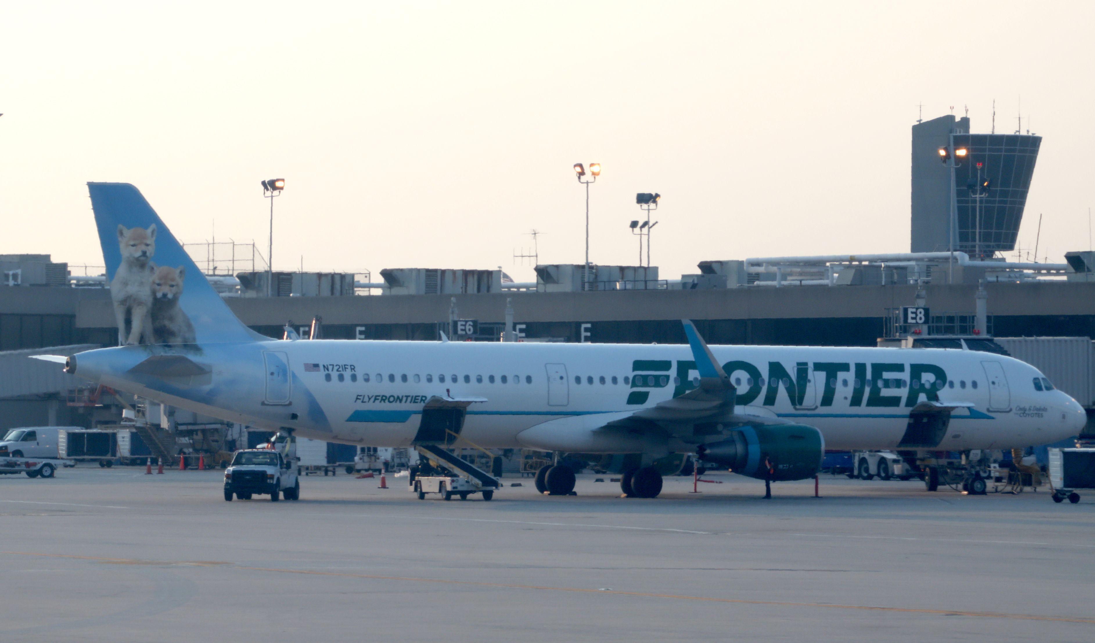 A Frontier Airlines jet at Philadelphia International Airport on June 1, 2018, in Philadelphia, Pennsylvania.