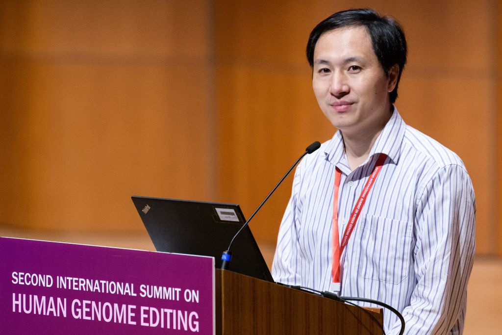 Chinese scientist He Jiankui speaks at the Second International Summit on Human Genome Editing in Hong Kong on Nov. 28, 2018.
