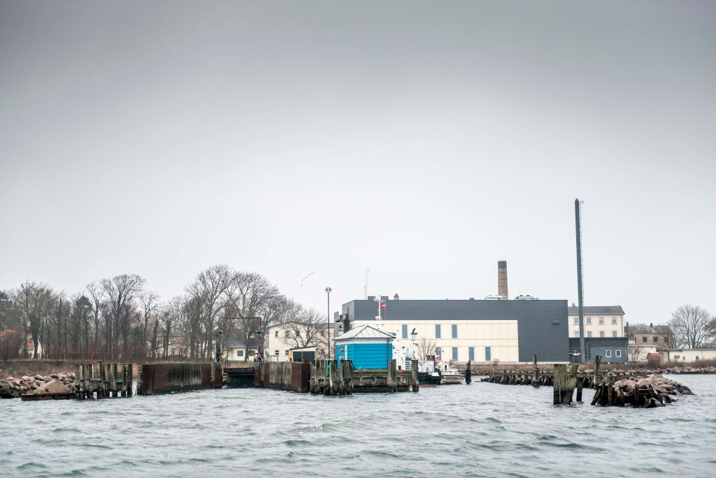 A picture taken on December 6, 2018 shows buildings on Lindholm island in Denmark. The Danish government proposed using Lindholm island for up to 100 criminals whose sentence of deportation cannot be carried out because they risk torture or execution in their home country.