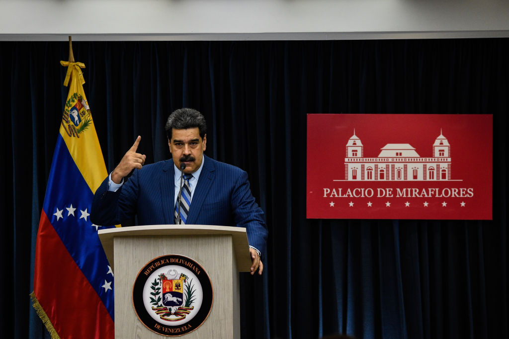 Venezuela's President Nicolas Maduro speaks during a press conference at the Miraflores presidential palace in Caracas, Venezuela on Dec. 12, 2018.