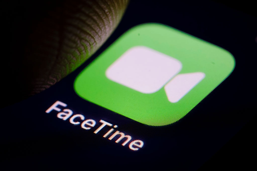 The FaceTime logo is displayed on a smartphone in Berlin, Germany on Dec. 14, 2018.