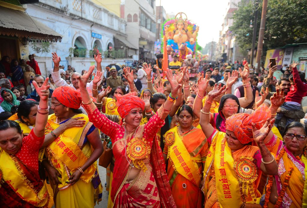 Indian Hindu devotees take part in a religious procession towards the Sangam area during the 'royal entry' for the upcoming Kumbh Mela festival in Allahabad on Jan. 11, 2019.