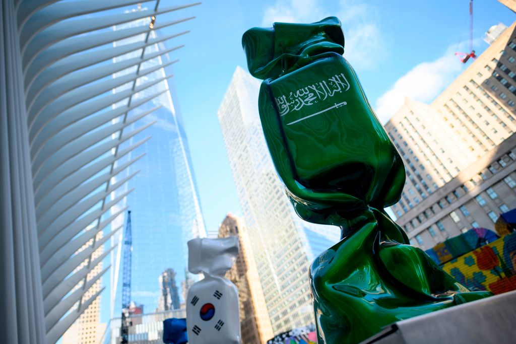 A sculpture with the flag of Saudi Arabia, part of an exhibit called 'Candy Nations' is pictured outside next to the Oculus, one of the buildings that replaced the original World Trade Center in New York City on Jan. 14, 2019.