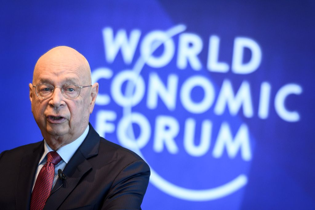 Davos founder Klaus Schwab attends a press conference ahead of the World Economic Forum on Jan. 15, 2019 in Geneva.