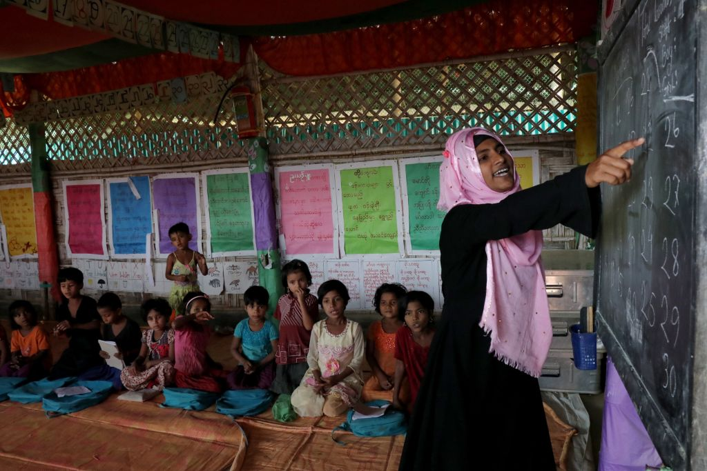 Rohingya children learn at an educational center in a refugee camp in Cox's Bazar, Bangladesh on Jan. 12, 2019.