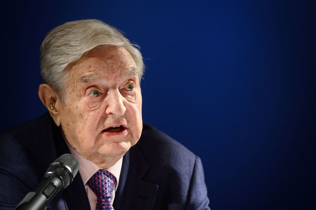 Investor and philanthropist George Soros delivers a speech on the sideline of the World Economic Forum annual meeting, in Davos, Switzerland on Jan. 24, 2019.