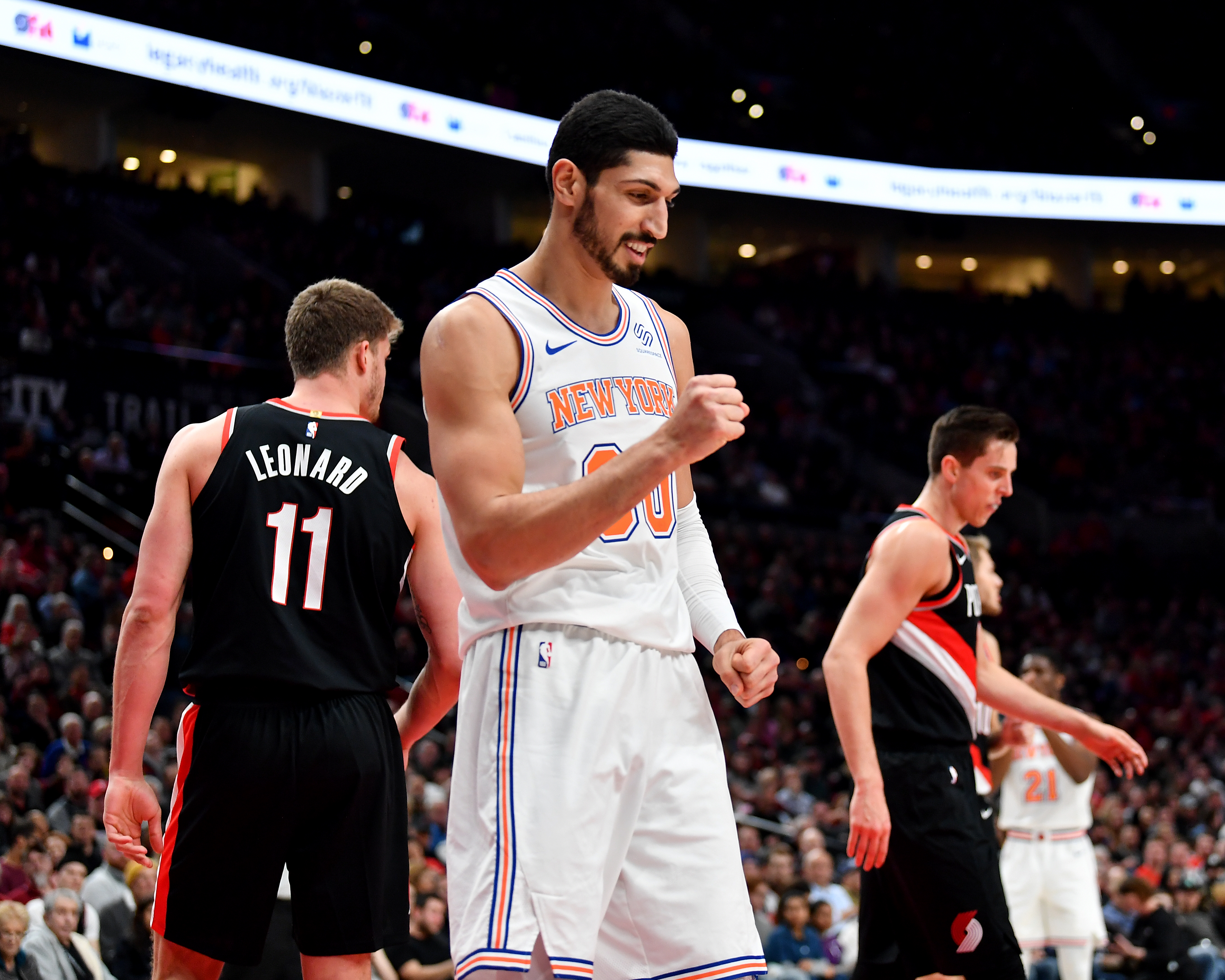 Enes Kanter #00 of the New York Knicks at the Moda Center on January 07, 2019 in Portland, Oregon.