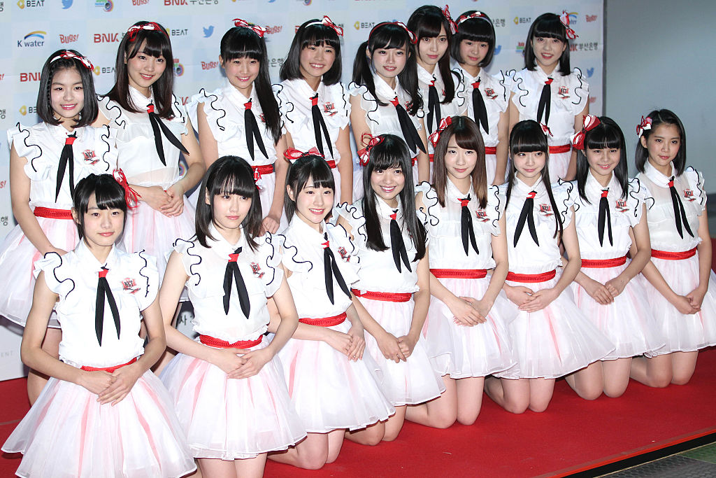 NGT48 pose for photographs during the 2015 Asia Song Festival at Busan Asiad Main Stadium in Busan, South Korea on Oct. 11, 2015.