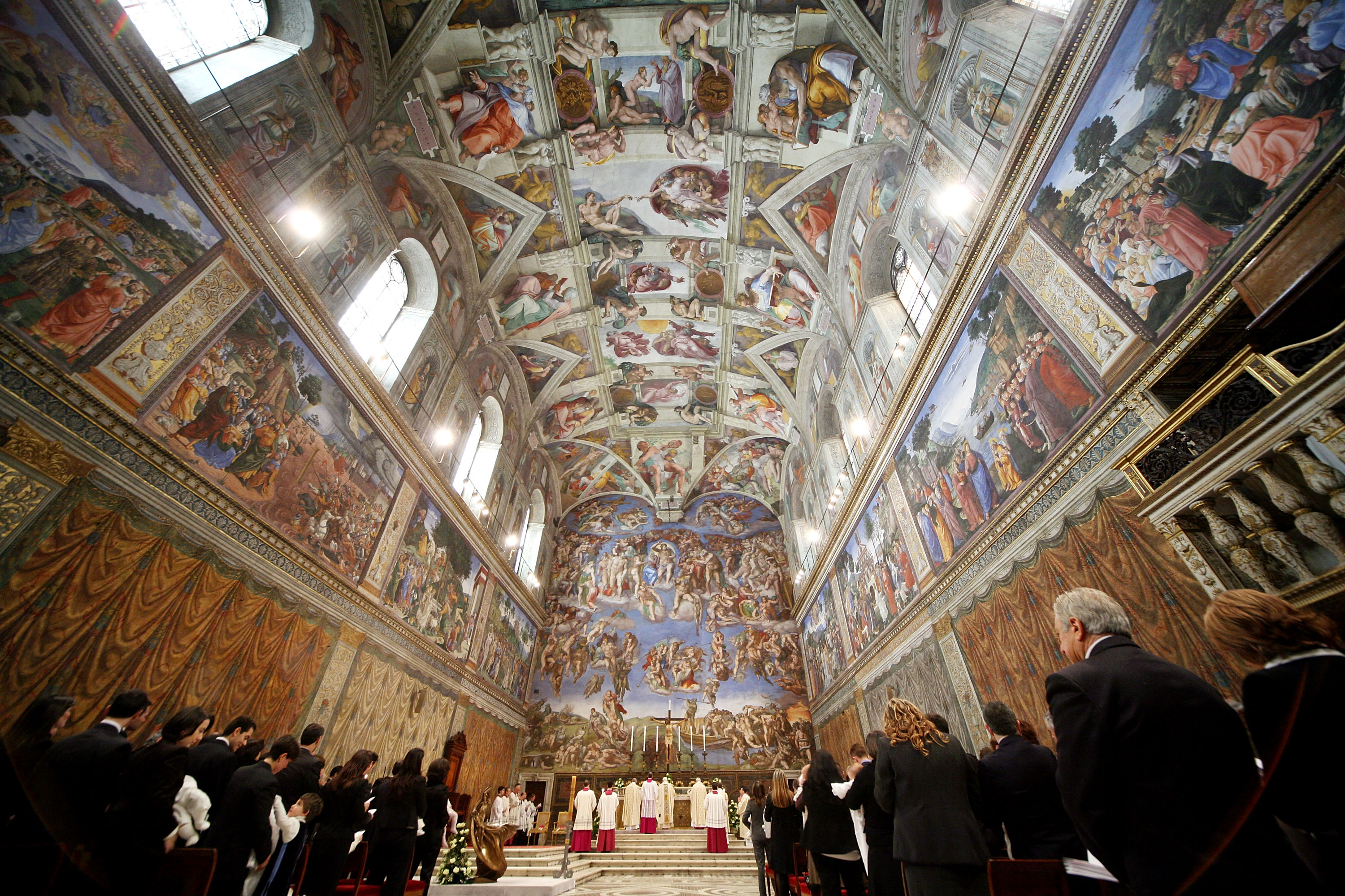 A general view as Pope Benedict XVI celebrates baptisms in Michelangelo's Sistine Chapel in Vatican City on Jan. 13, 2008.