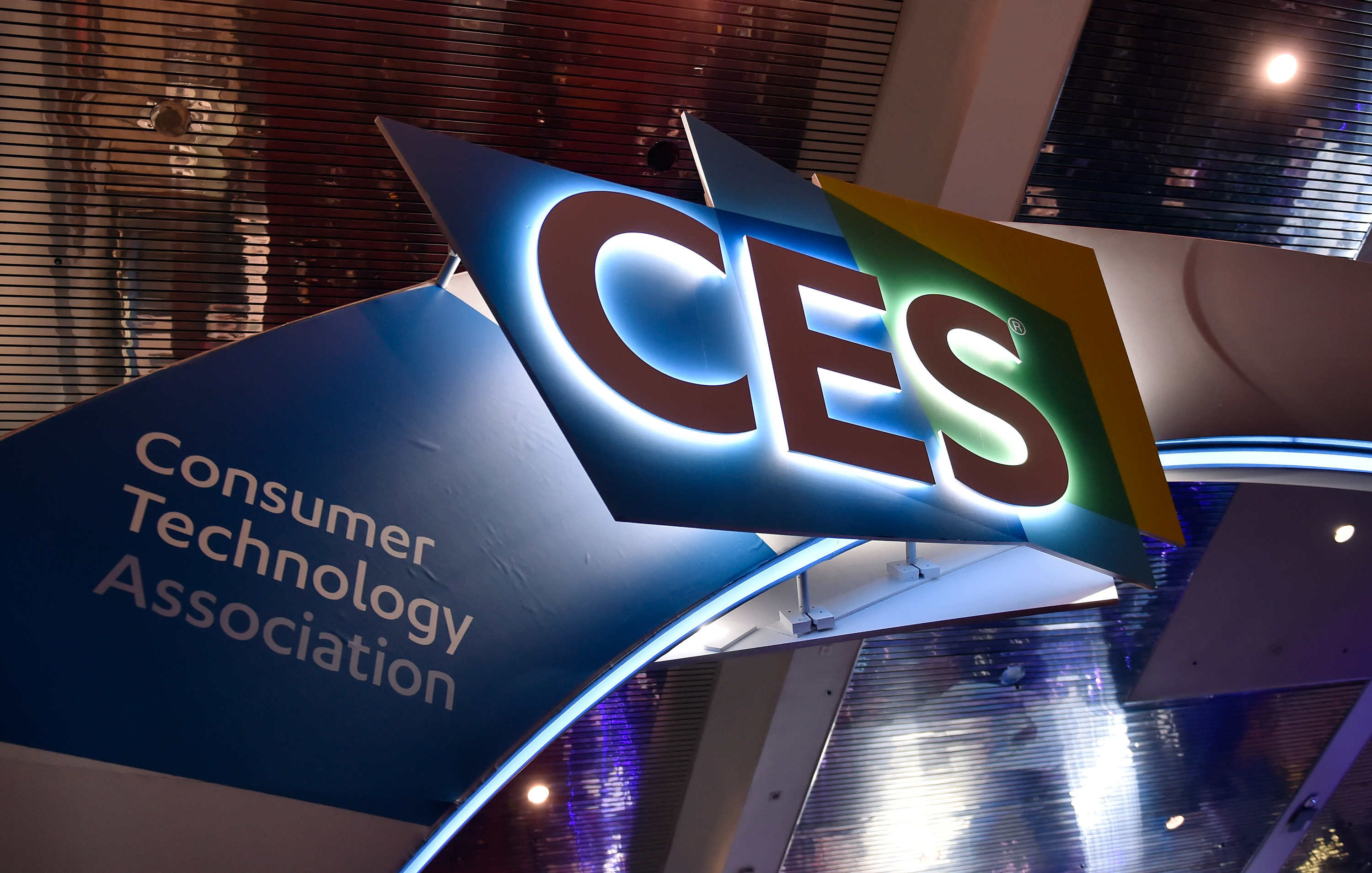 LAS VEGAS, NV - JANUARY 09:  The CES logo is seen during CES 2018 at the Las Vegas Convention Center on January 9, 2018 in Las Vegas, Nevada. CES, the world's largest annual consumer technology trade show, runs through January 12 and features about 3,900 exhibitors showing off their latest products and services to more than 170,000 attendees.  (Photo by David Becker/Getty Images)
