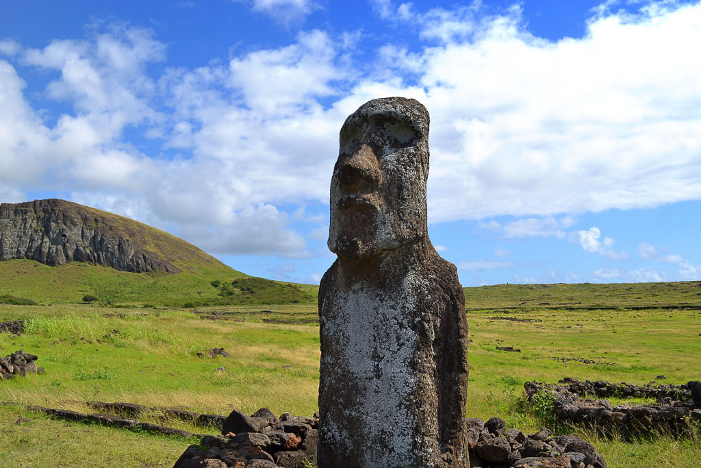 A Moai, a typical monolithic statue of a human figure from Easter Island, pictured on Jan. 1 2017.