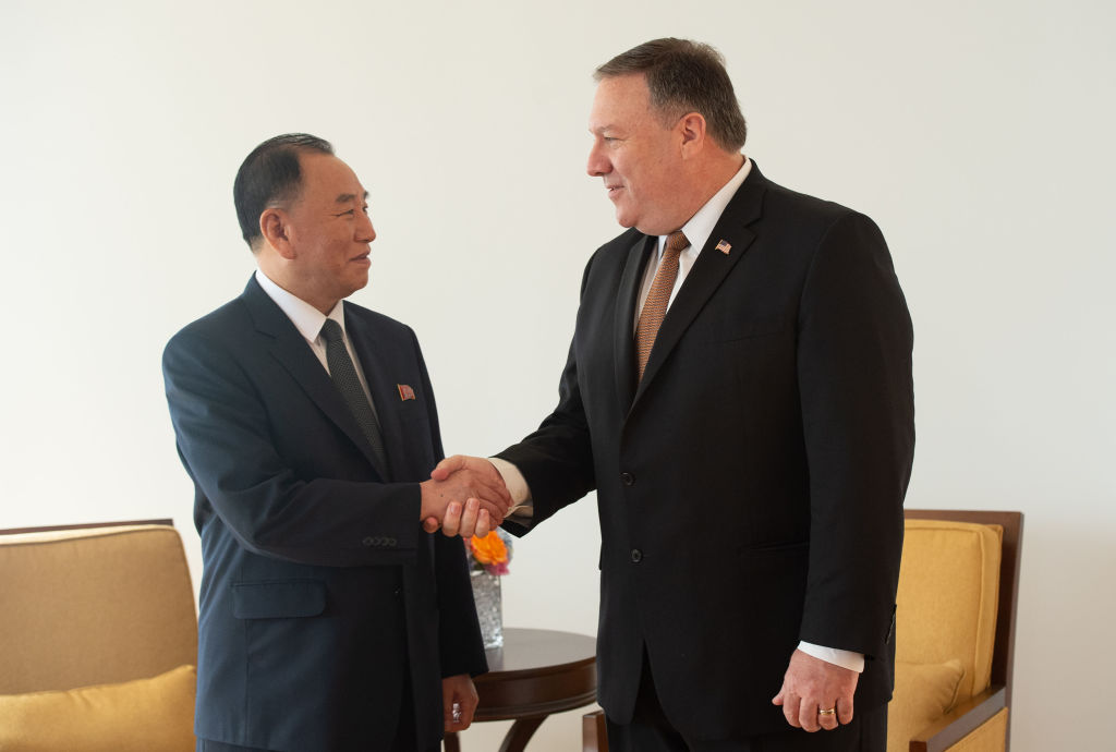 North Korea Vice-Chairman Kim Yong-chol shakes hands with U.S. Secretary of State Mike Pompeo in New York on May 31, 2018.
