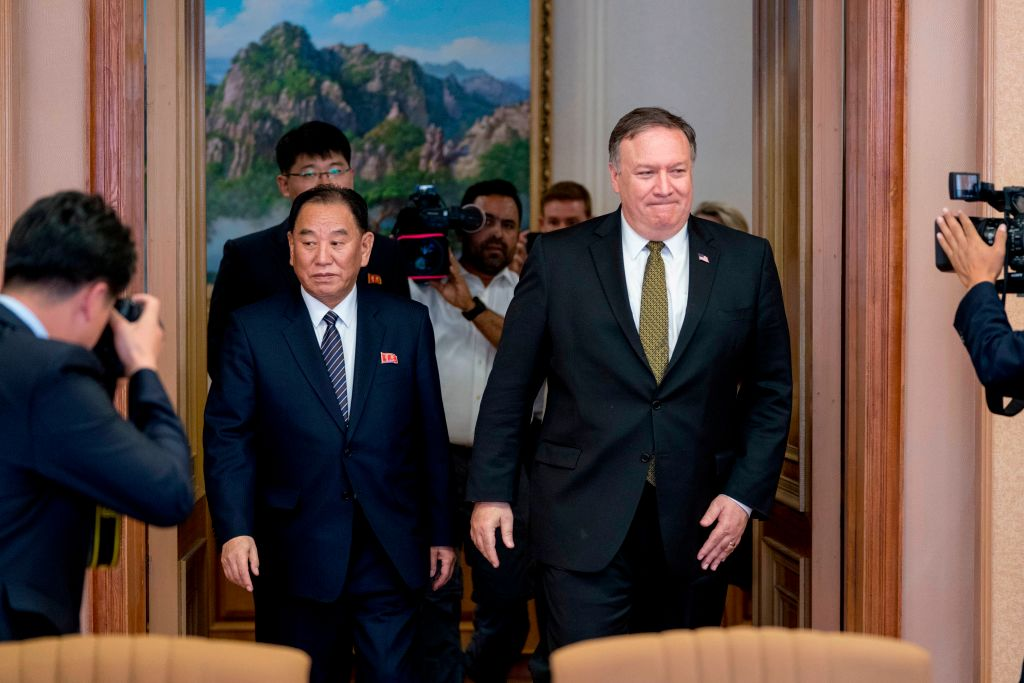 Secretary of State Mike Pompeo (R) and Kim Yong Chol (L), North Korean senior ruling party official and former intelligence chief, at Park Hwa Guest House in Pyongyang, North Korea on July 7, 2018.